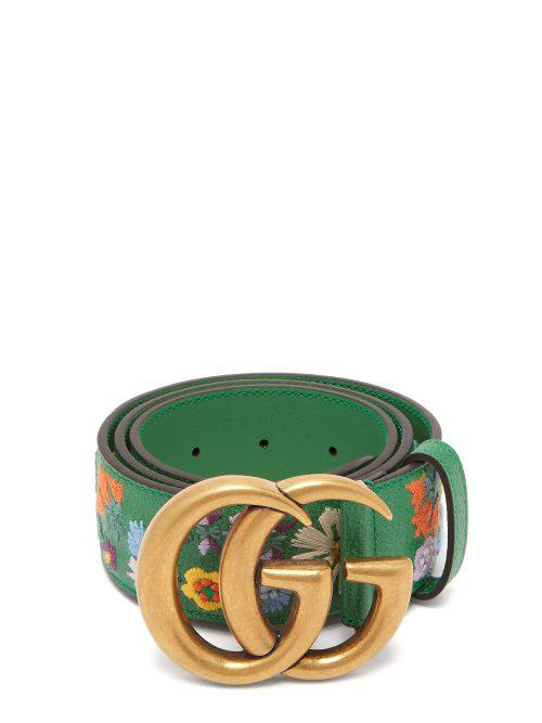 8ba2e2891e7 Gucci Green Fl Embroidered Gg Logo Leather Belt Lyst