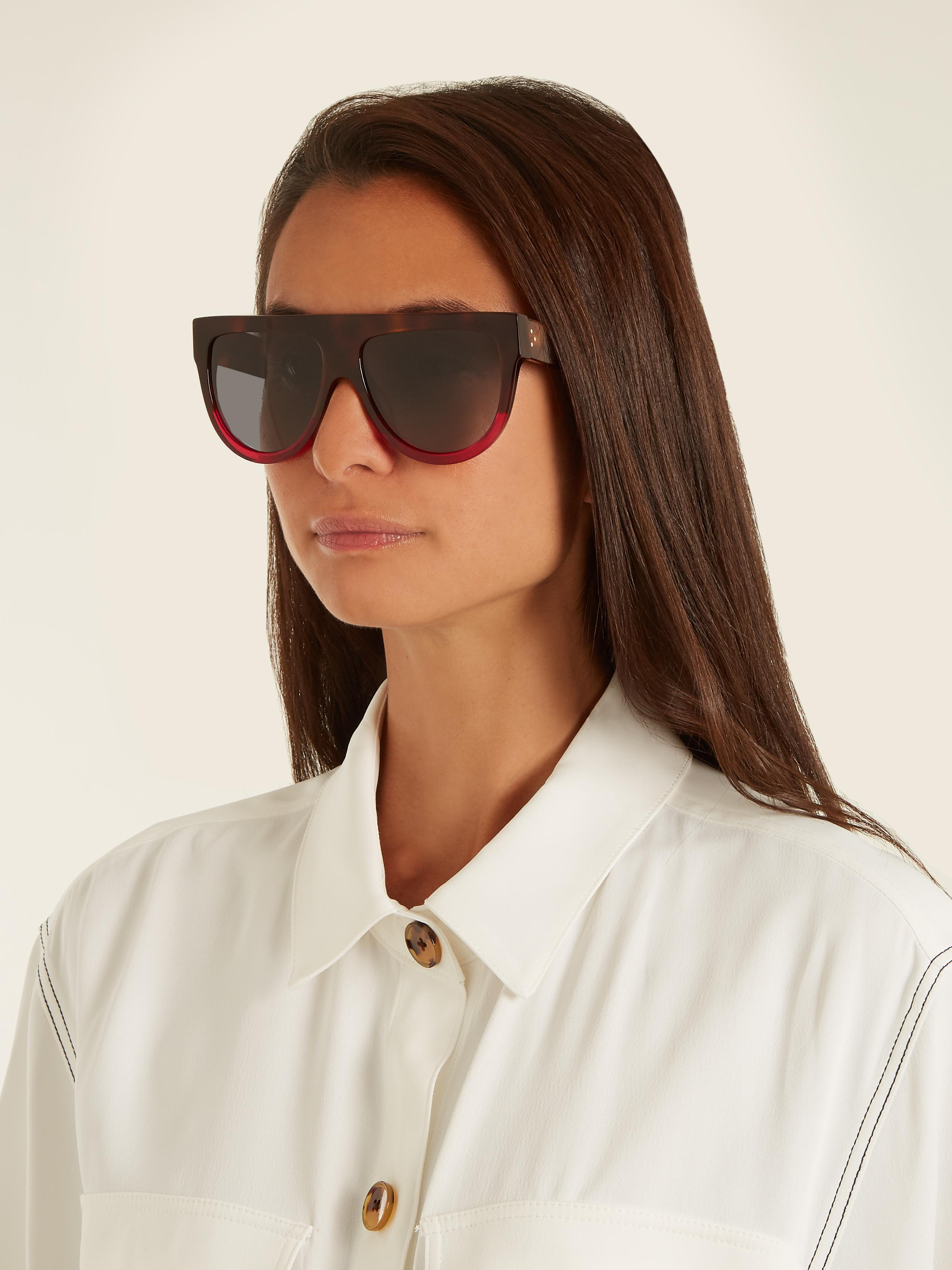1d515a187271 Lyst - Céline Shadow Aviator D-frame Acetate Sunglasses