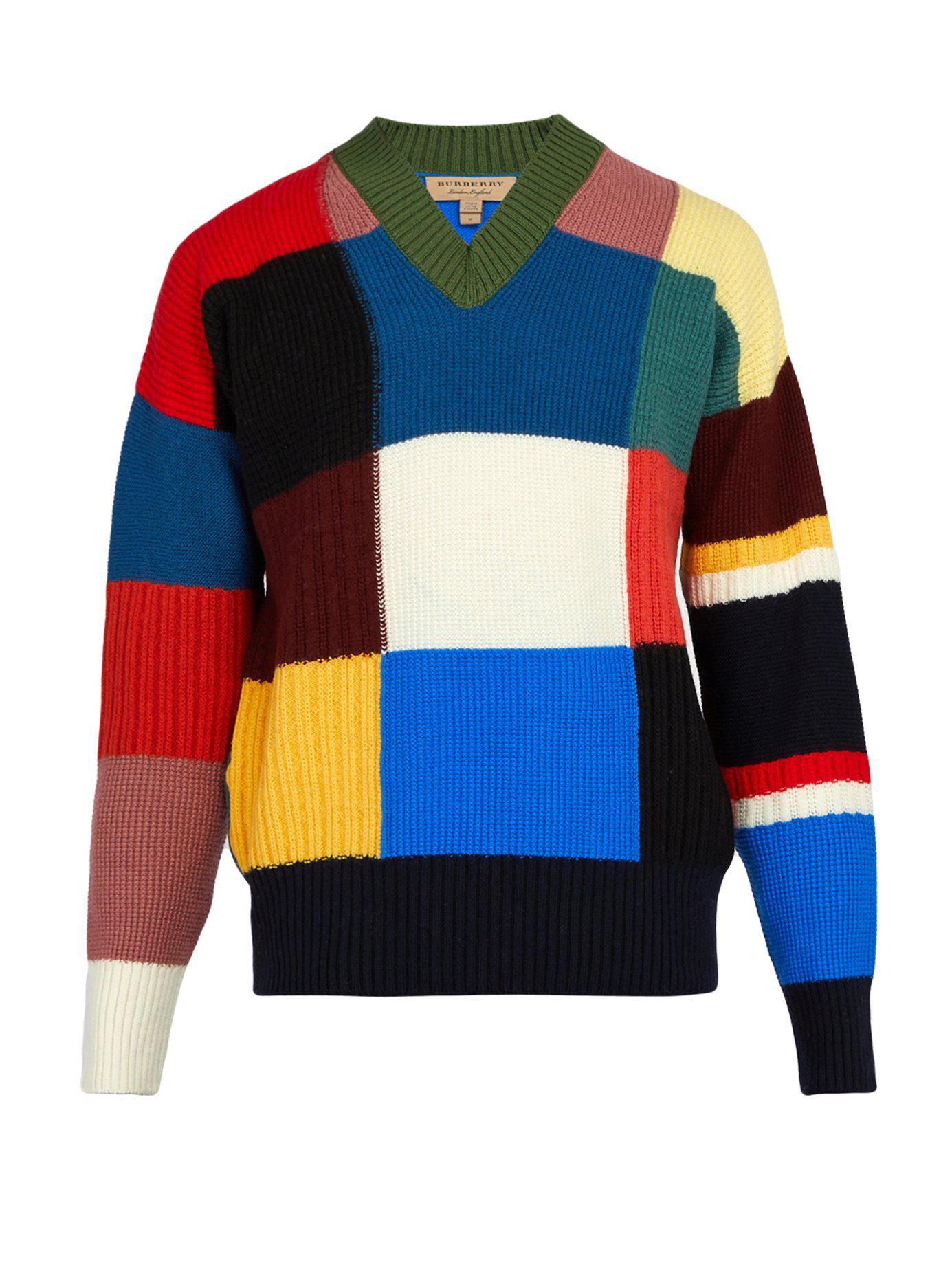 5d38d5bf4f25 Lyst - Burberry Reynold Intarsia Wool Sweater in Blue for Men