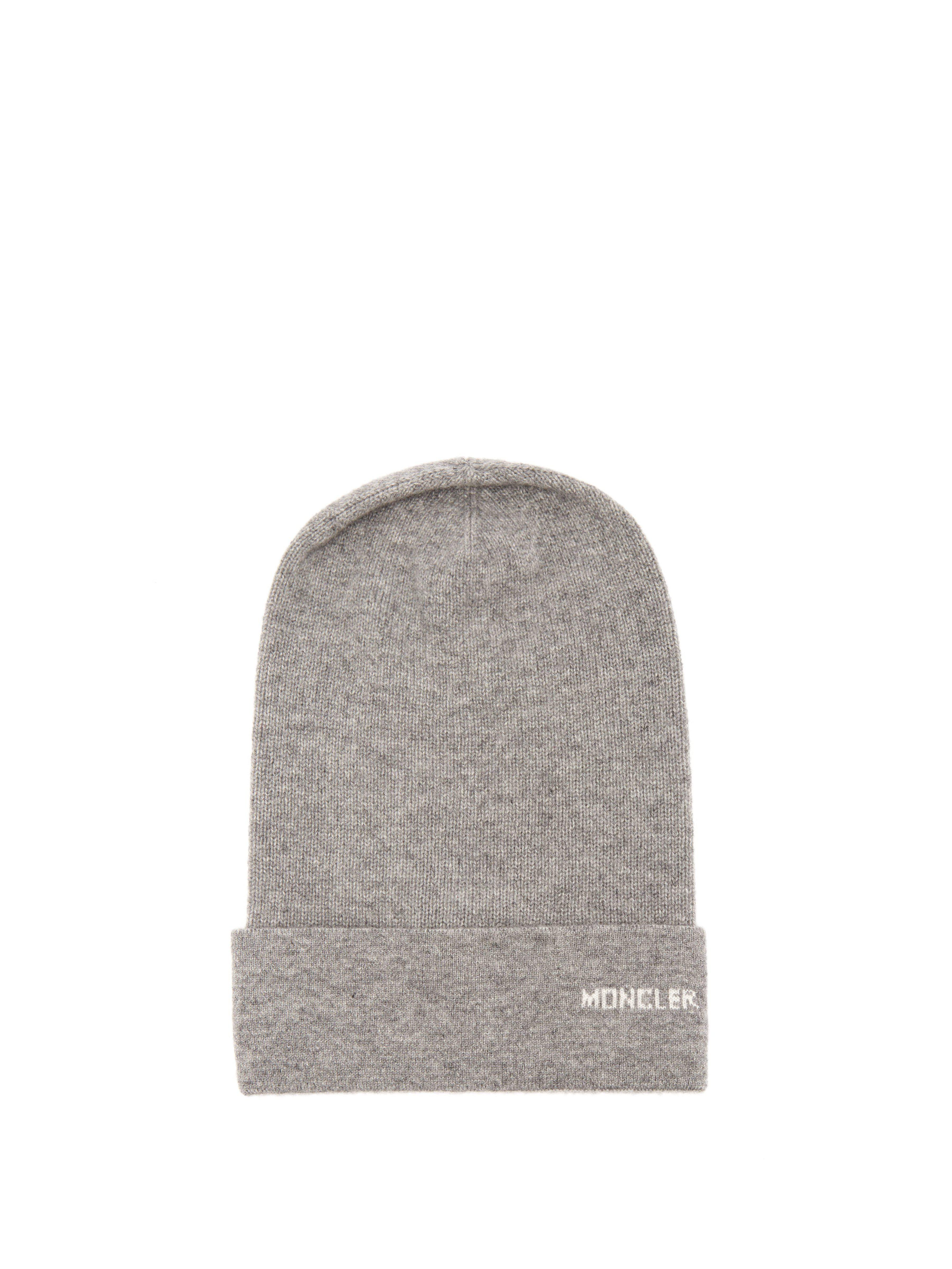 Moncler Logo Cashmere Beanie Hat in Gray - Lyst dd02397f31d6