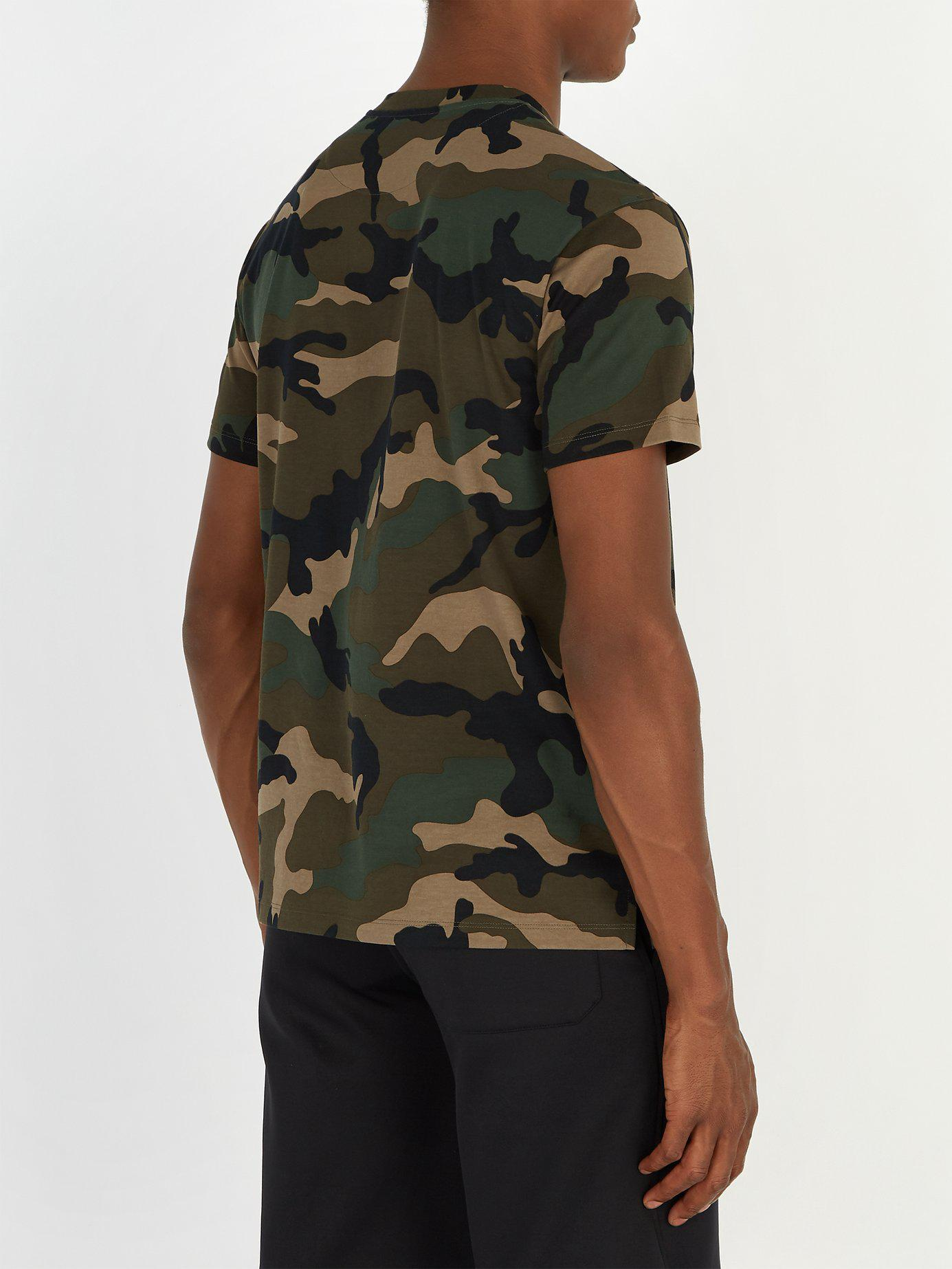0bb608f3664a0 Valentino - Green Vltn Camouflage Print Cotton Jersey T Shirt for Men -  Lyst. View fullscreen