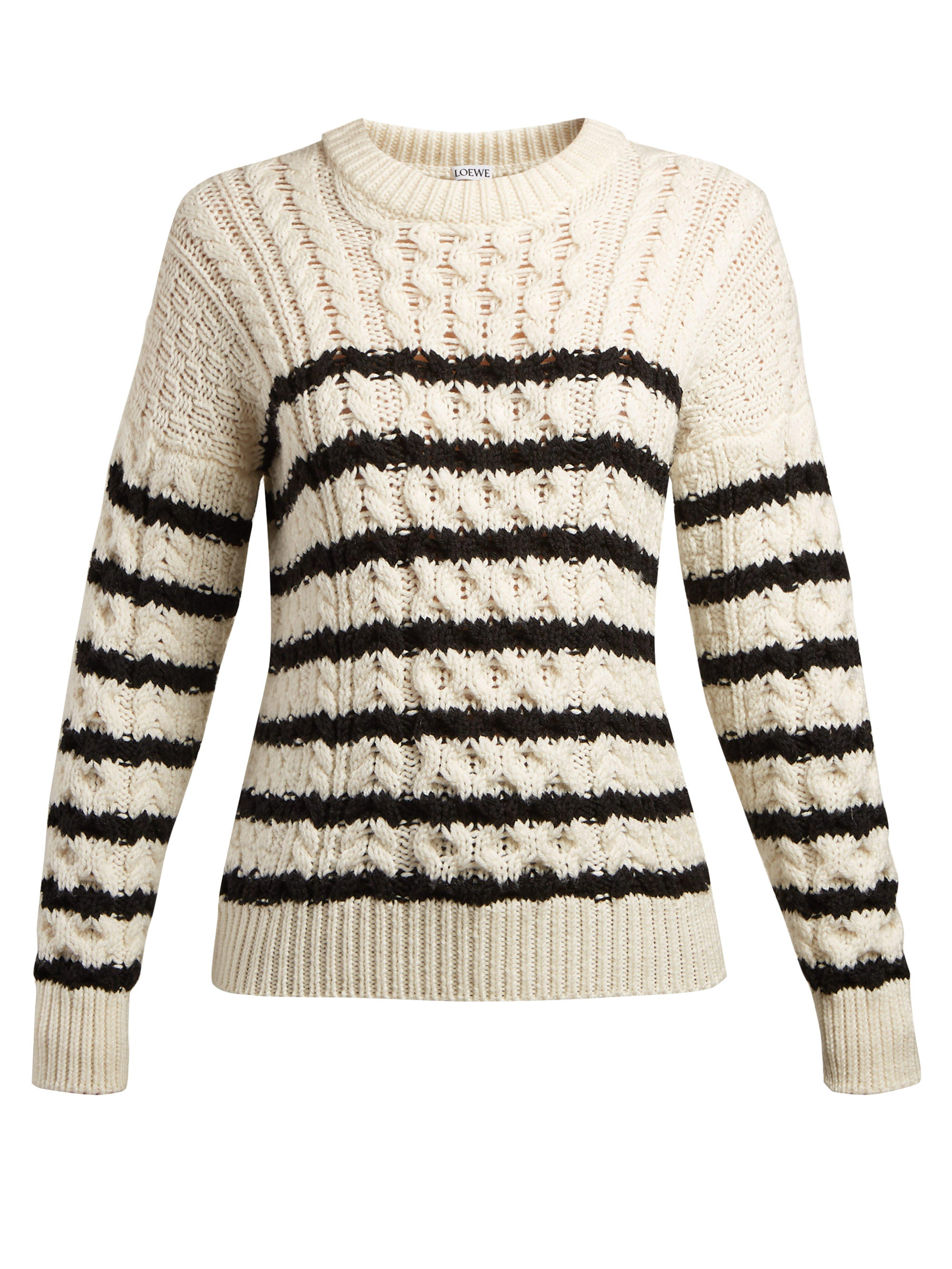 1bb8c2afbb Loewe Striped Cable Knit Sweater in Black - Lyst