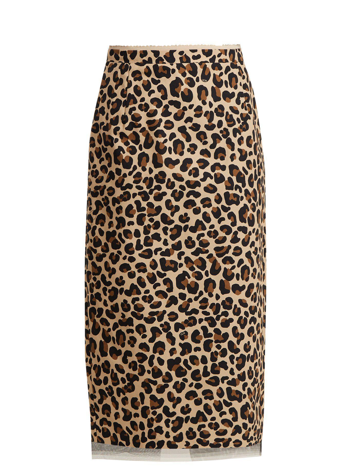 d2bd0b88eeb8 Lyst - Jupe crayon en toile de coton à imprimé léopard N°21