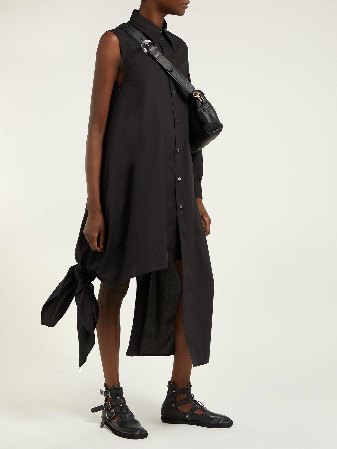 bc1df9e2dbb Lyst - MM6 by Maison Martin Margiela Asymmetrical Long Shirt Dress in Black
