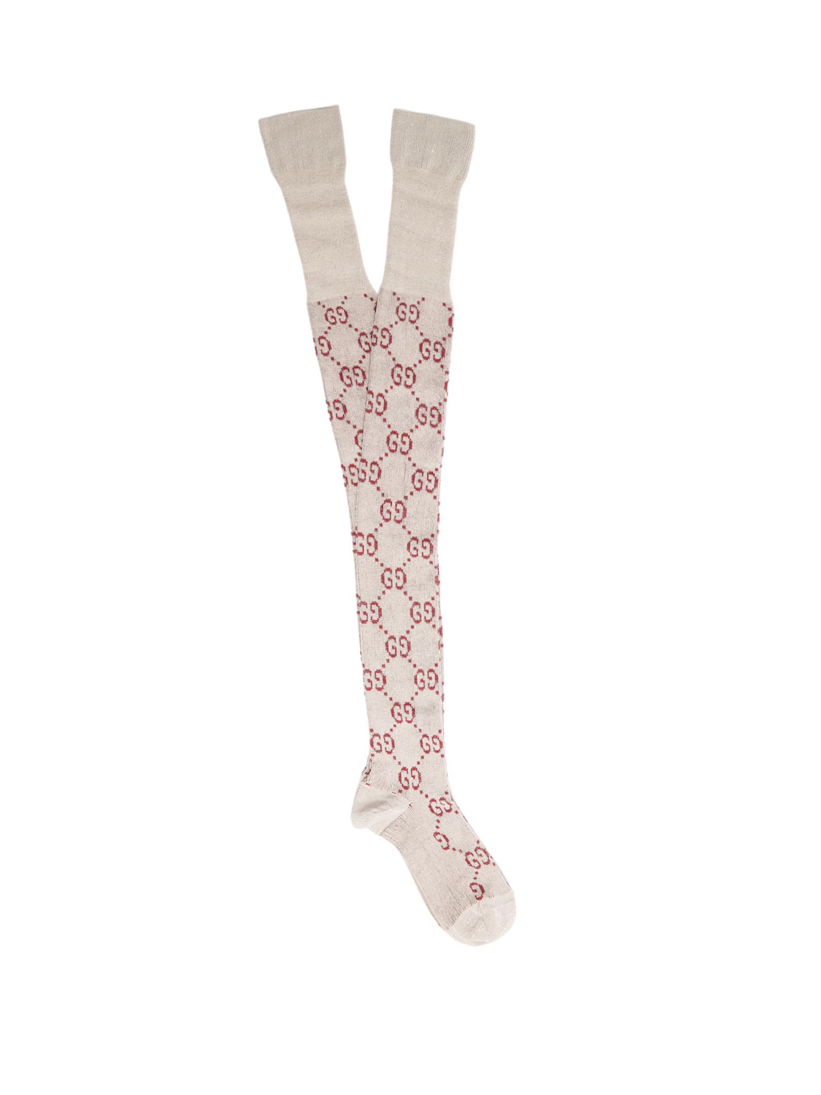 13c6278fdc427 Gucci Gg Cotton-blend Over-the-knee Socks in White - Lyst