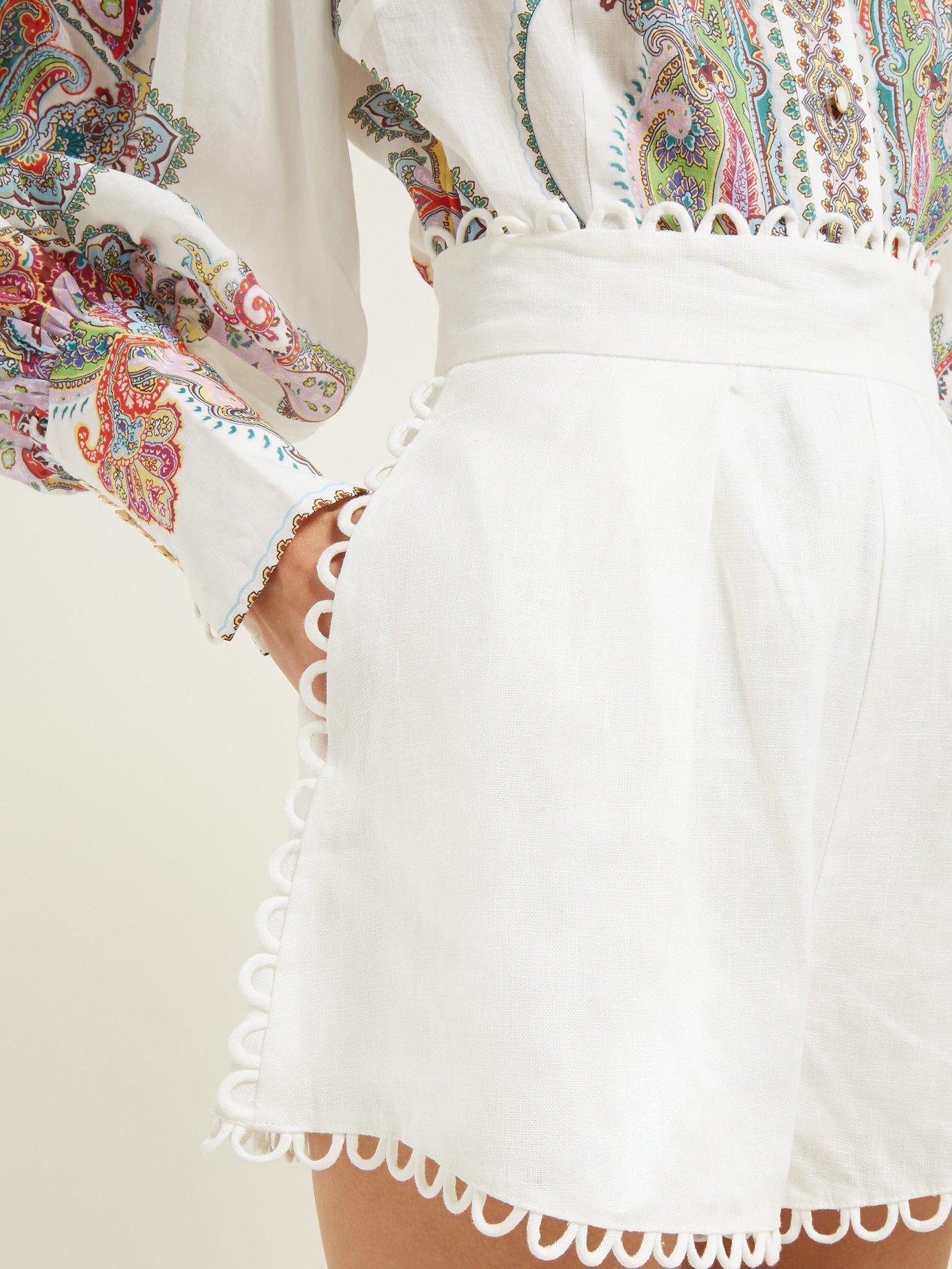 98f09623e Zimmermann - White Allia High Rise Linen Shorts - Lyst. View fullscreen