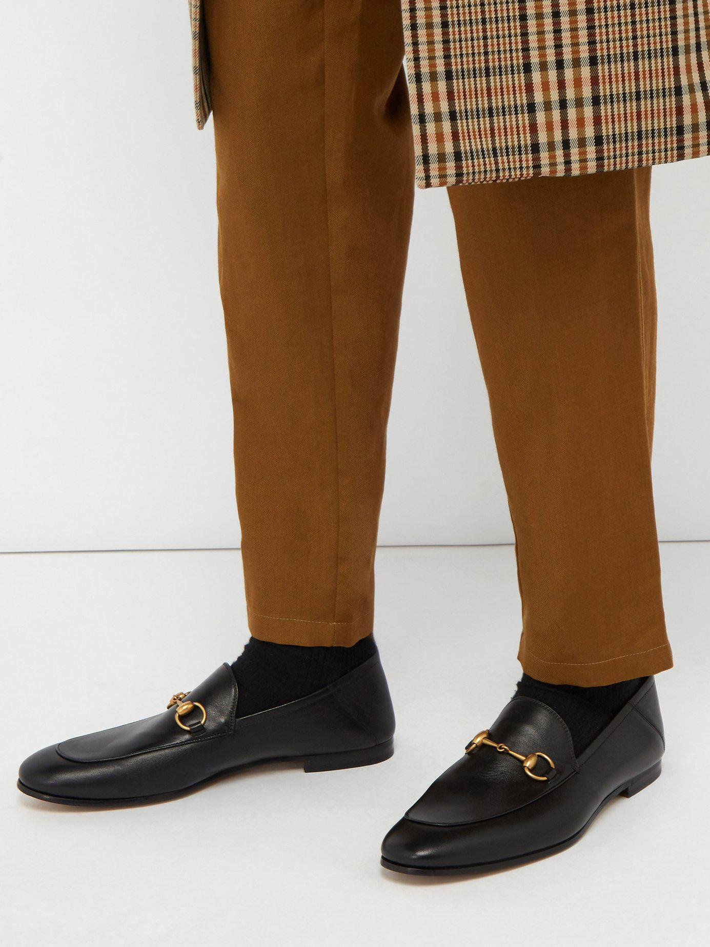 527791de250 Lyst - Gucci Brixton Leather Loafers in Black for Men