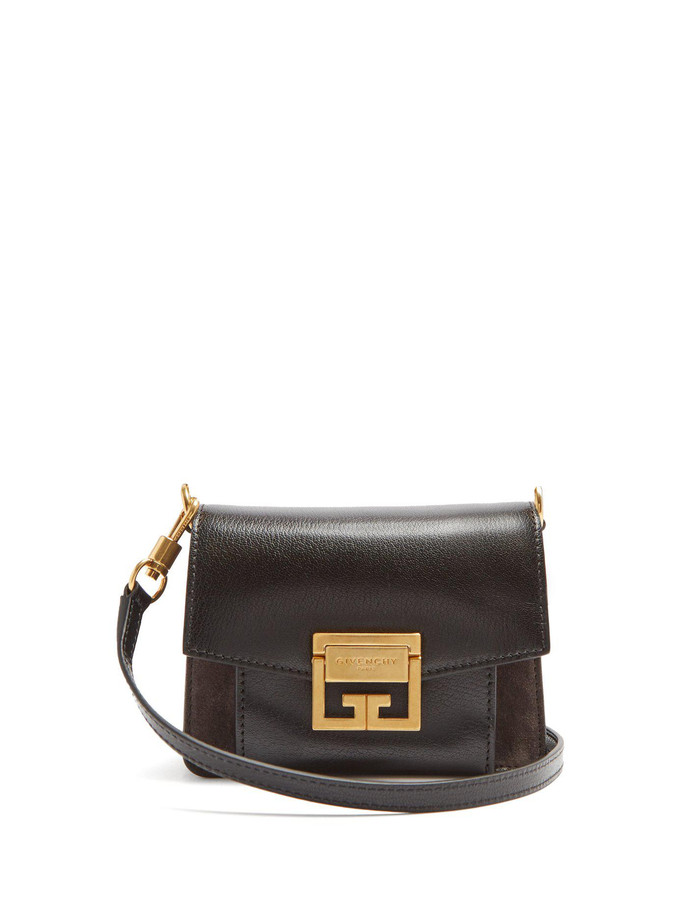 4743a244171e Lyst - Givenchy Gv3 Mini Suede And Leather Cross Body Bag in Black