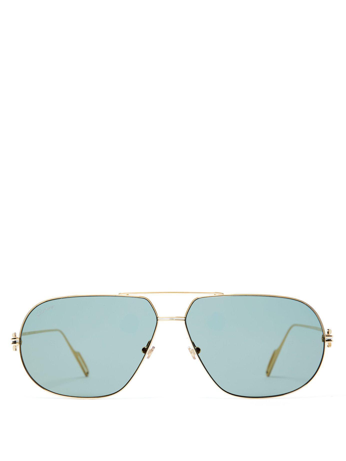 da27adc58bf Cartier. Men s Metallic Première De Cartier Aviator Frame Sunglasses