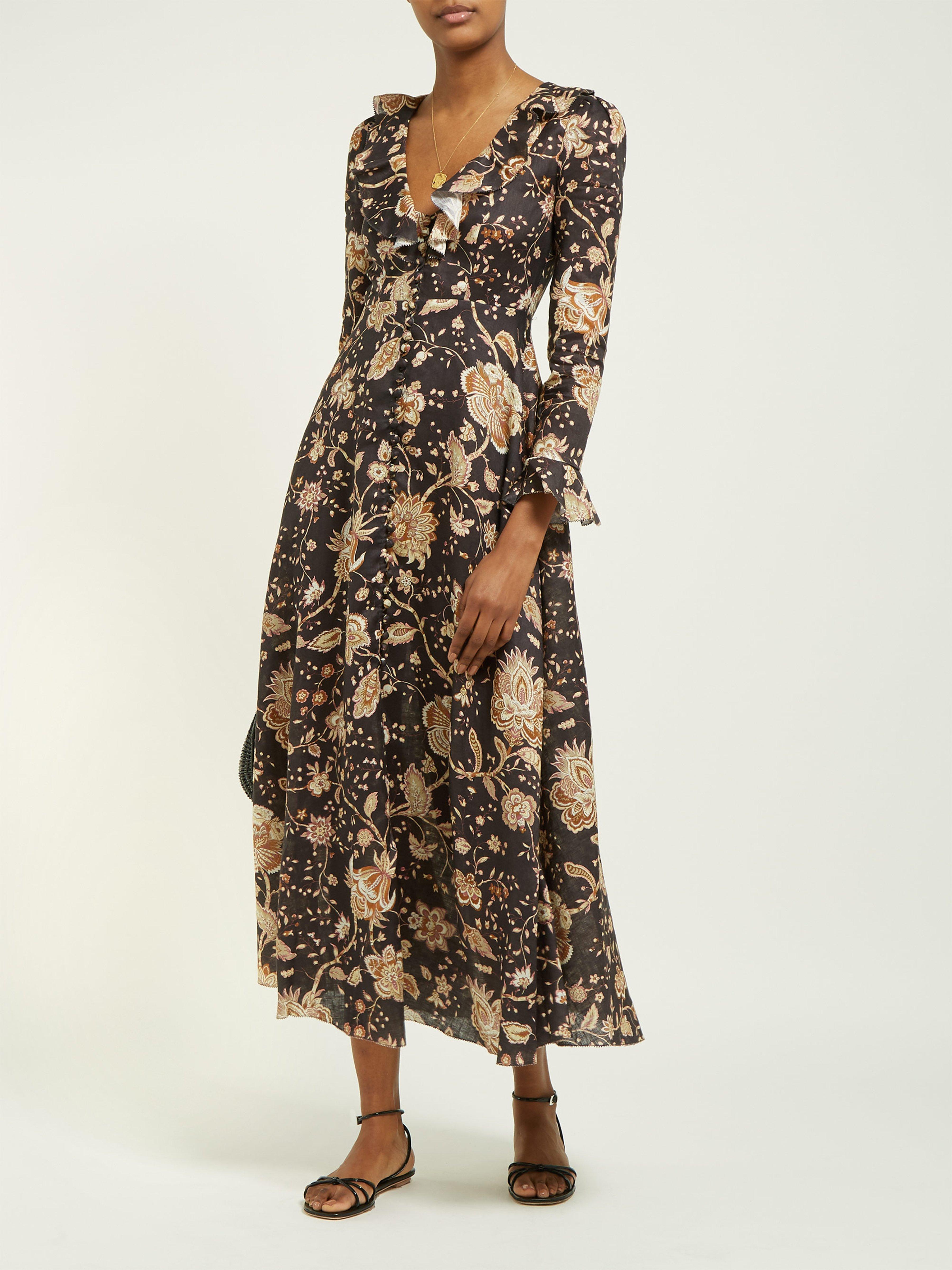 bebd8db82c3 Zimmermann Veneto Floral Print Linen Dress - Lyst
