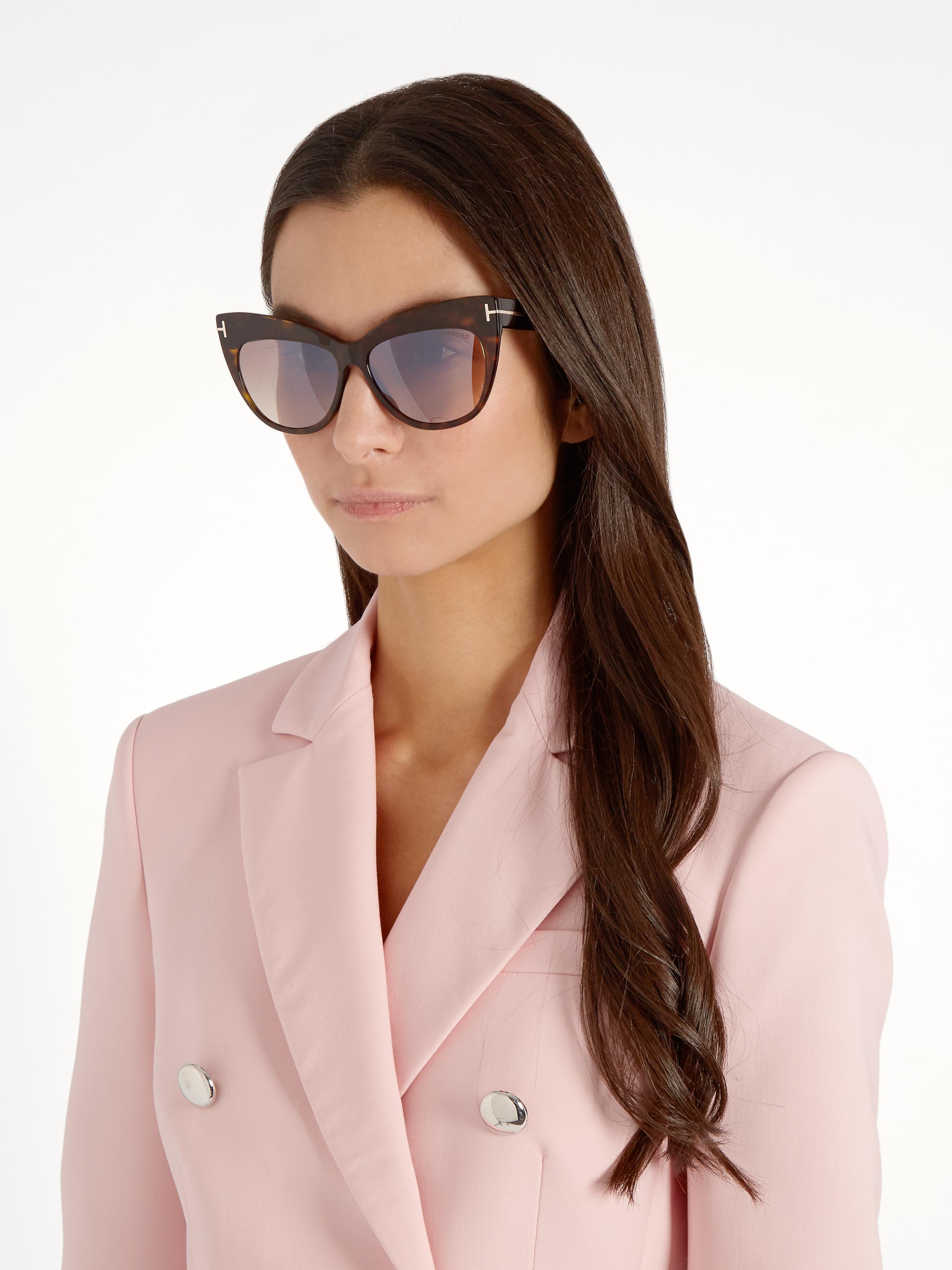 8c9d203ef Tom Ford Nika Cat-eye Sunglasses in Brown - Lyst