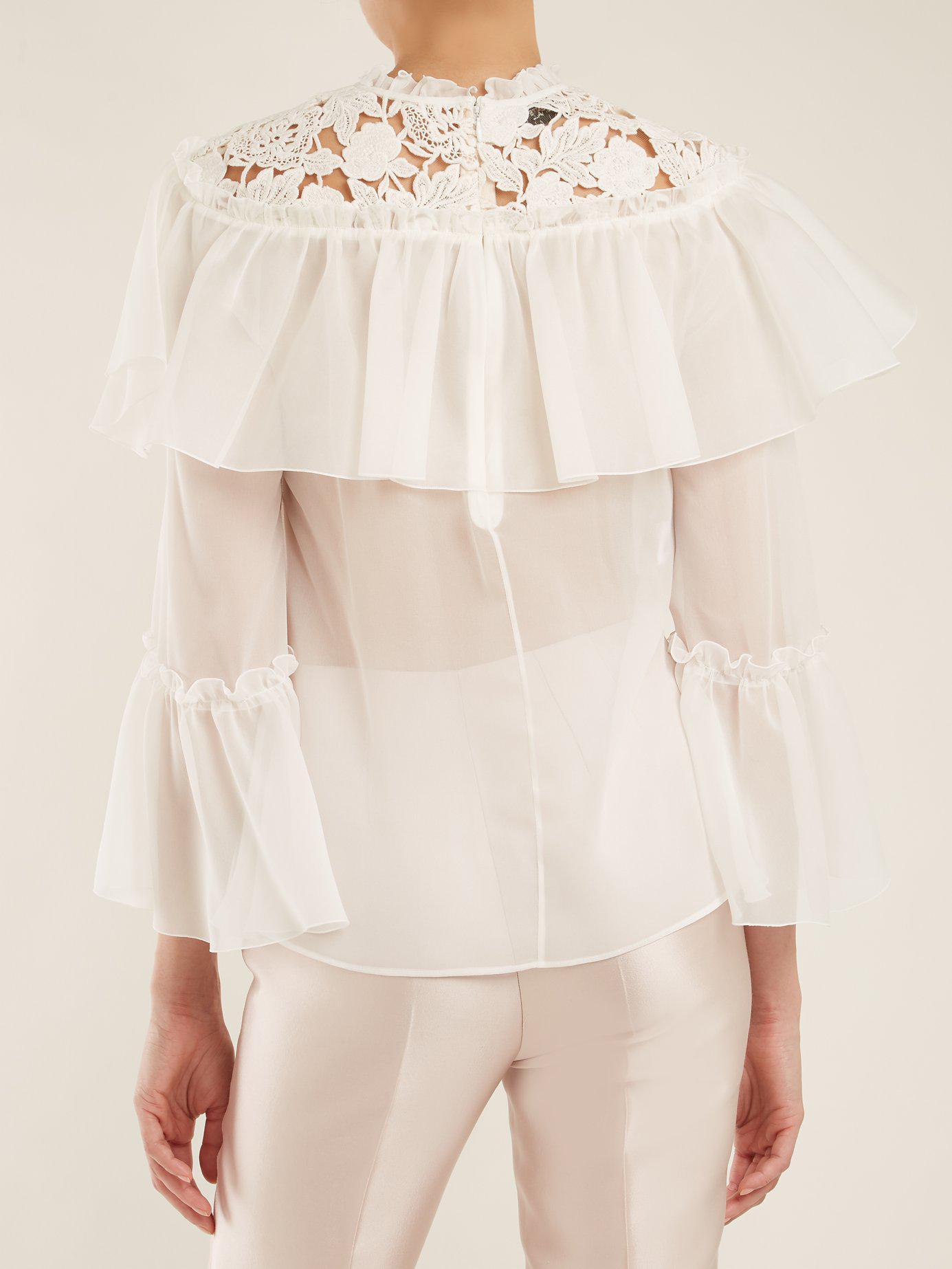 b7b2a6eea0cbf Lyst - Giambattista Valli Lace Insert Silk Georgette Blouse in White