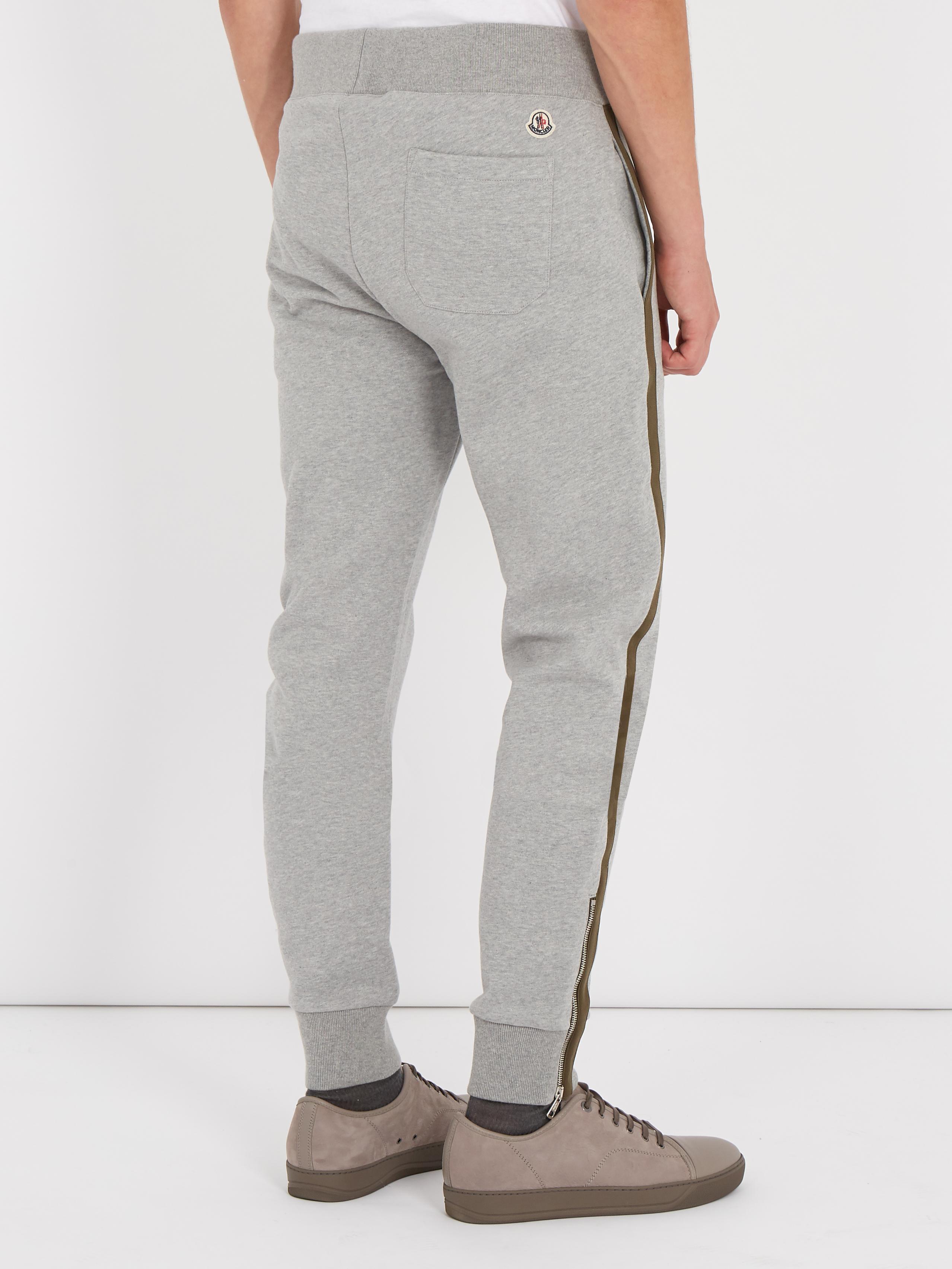 4c335858806d Lyst - Moncler Contrast-stripe Cotton Track Pants in Gray for Men