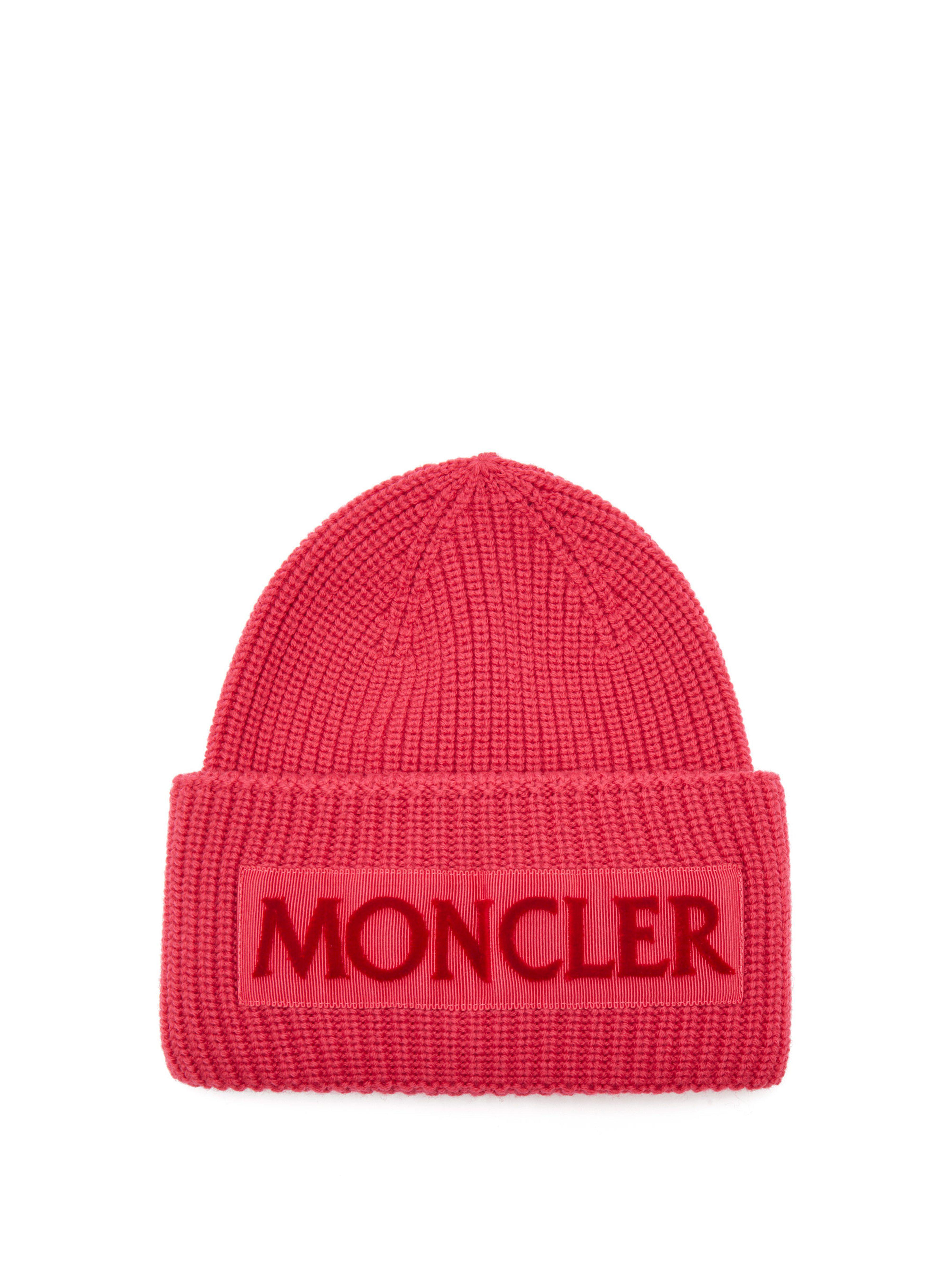 ba5fb625c87 Moncler - Pink Velvet Logo Wool Beanie Hat - Lyst. View fullscreen