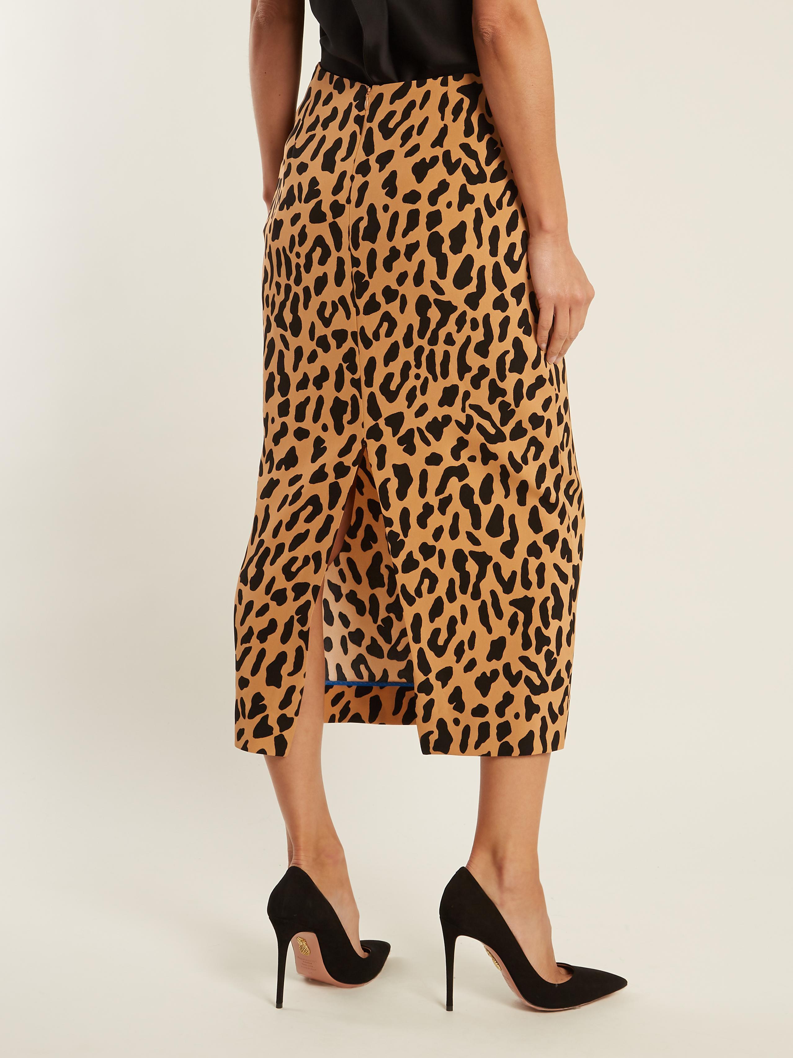f60651372 Diane von Furstenberg Leopard-print Stretch-cady Pencil Skirt - Lyst