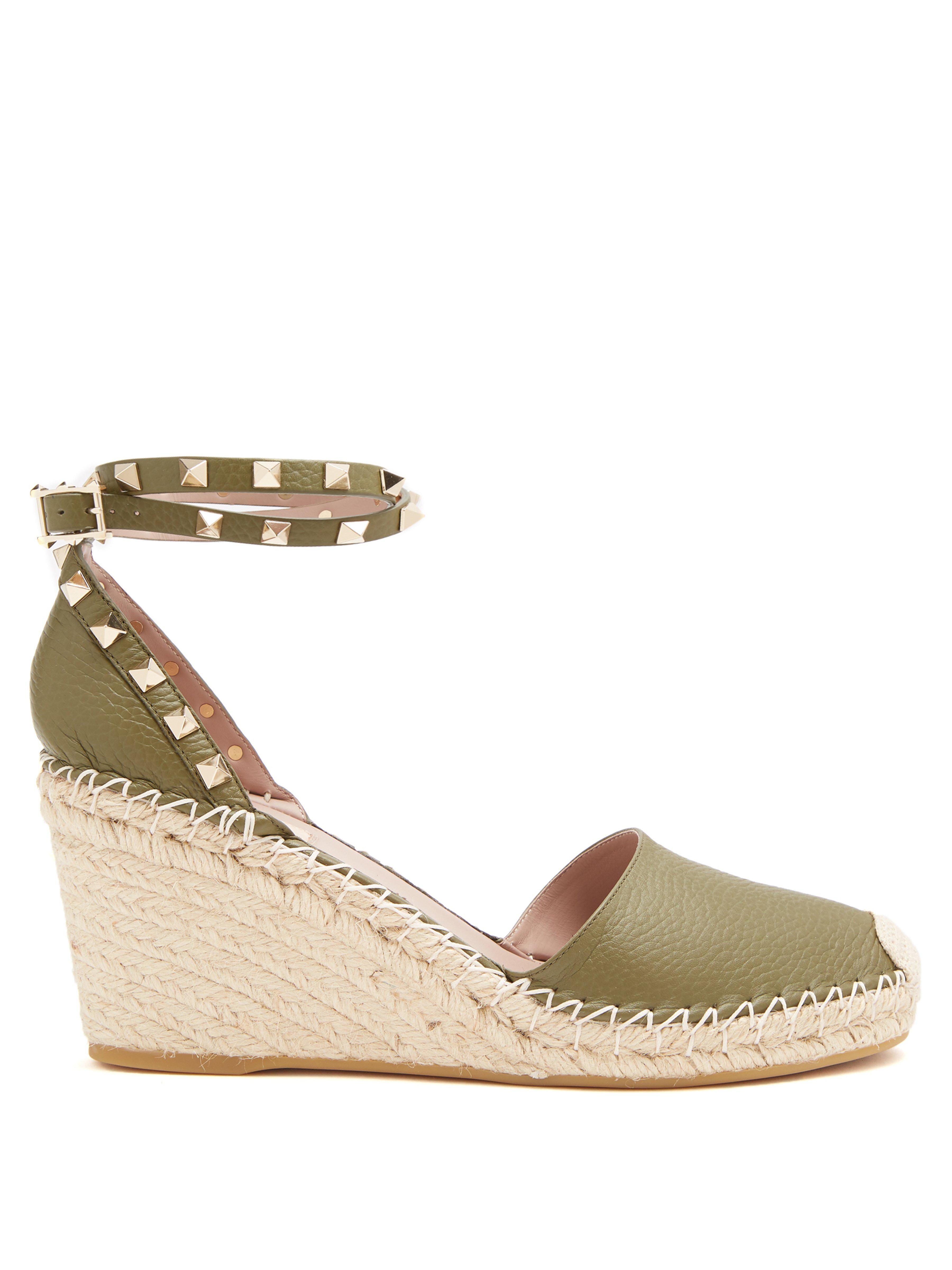 32f24697dde7 Valentino. Women s Rockstud Leather Wedge Espadrilles