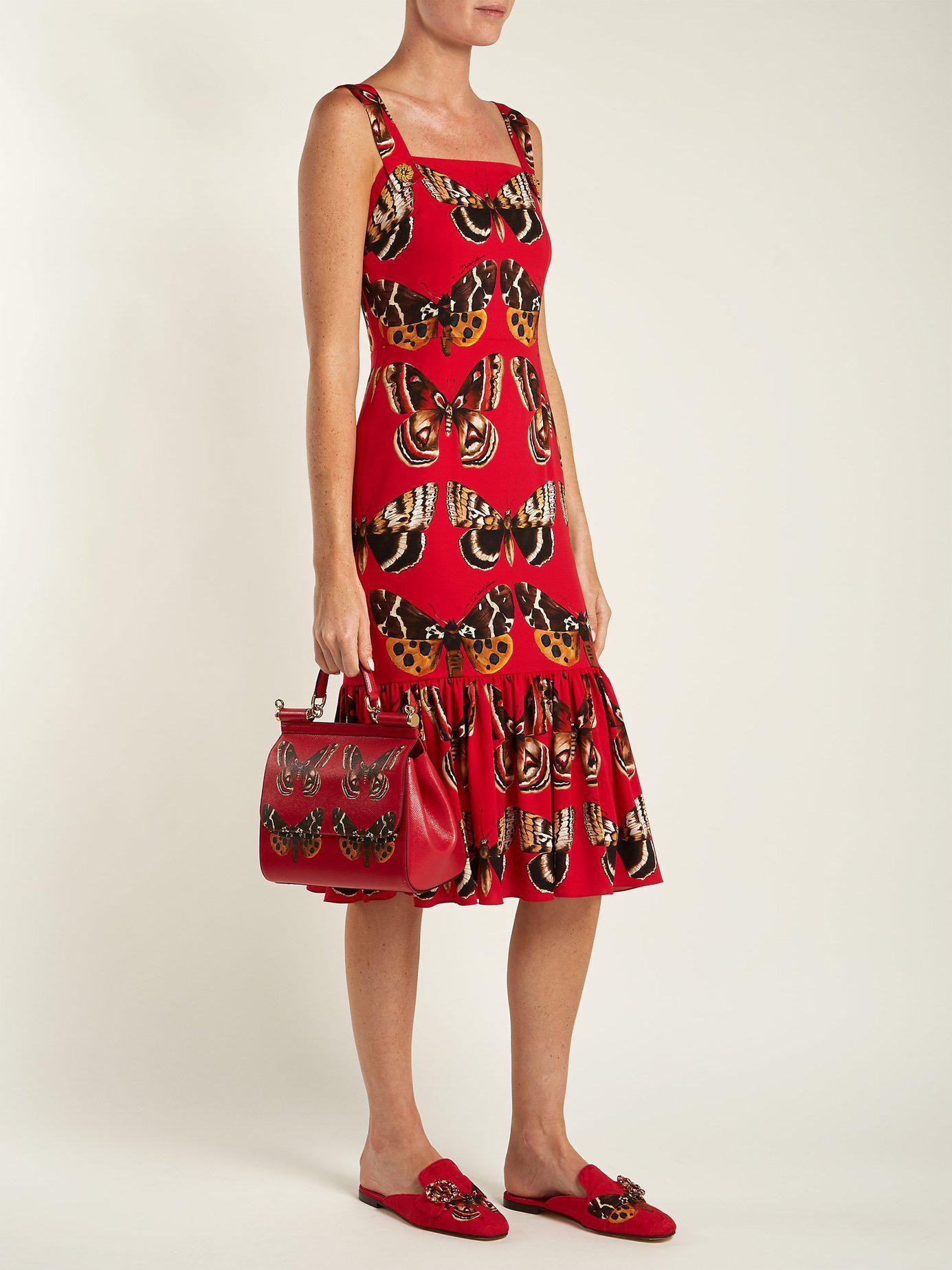 Dolce   Gabbana - Red Sicily Medium Butterfly Print Dauphine Leather Bag -  Lyst. View fullscreen c6722bdd14