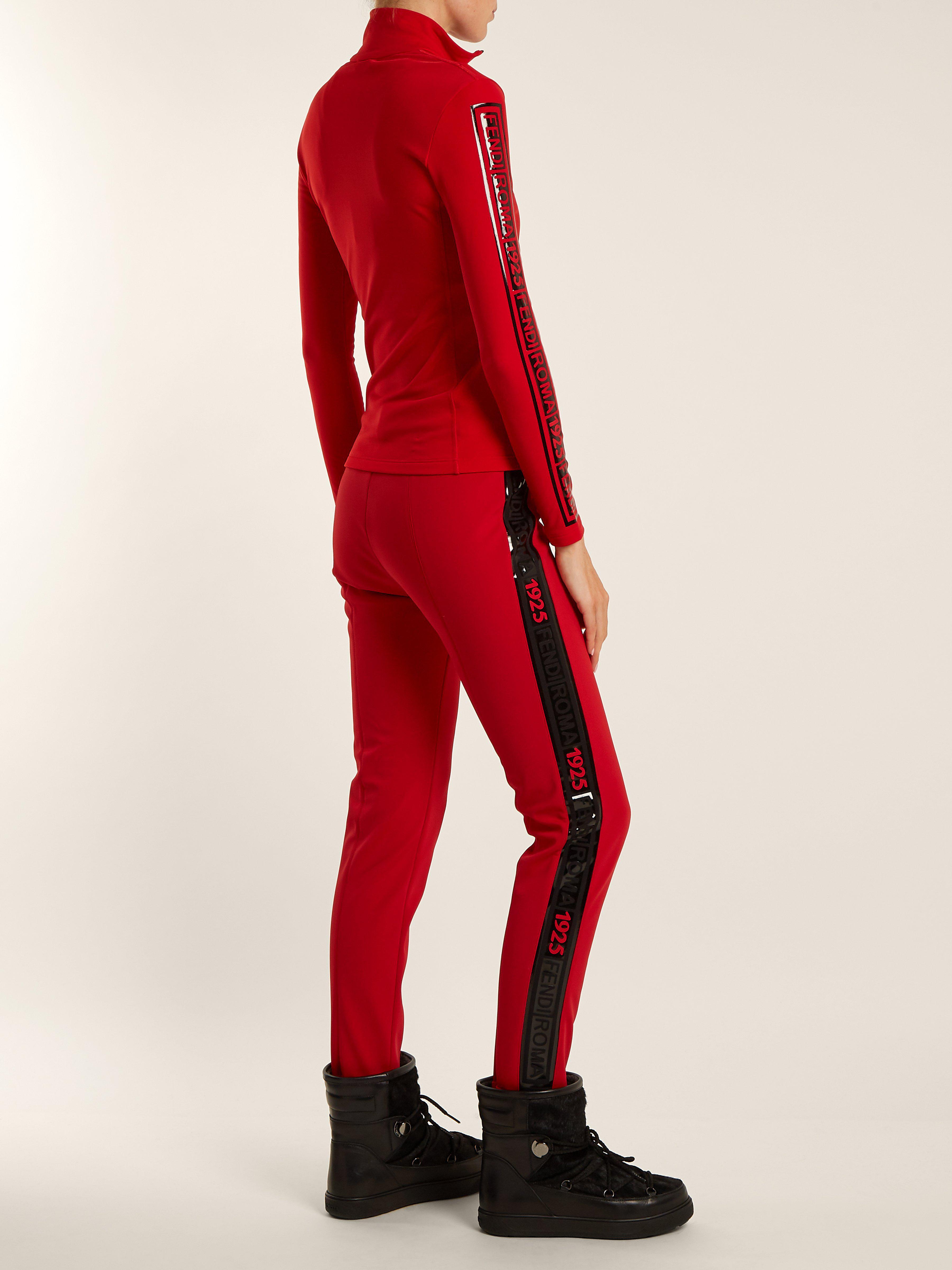 91bae77cb45c9 Pantalon de ski taille haute à ourlet fuseau Fendi en coloris Rouge ...