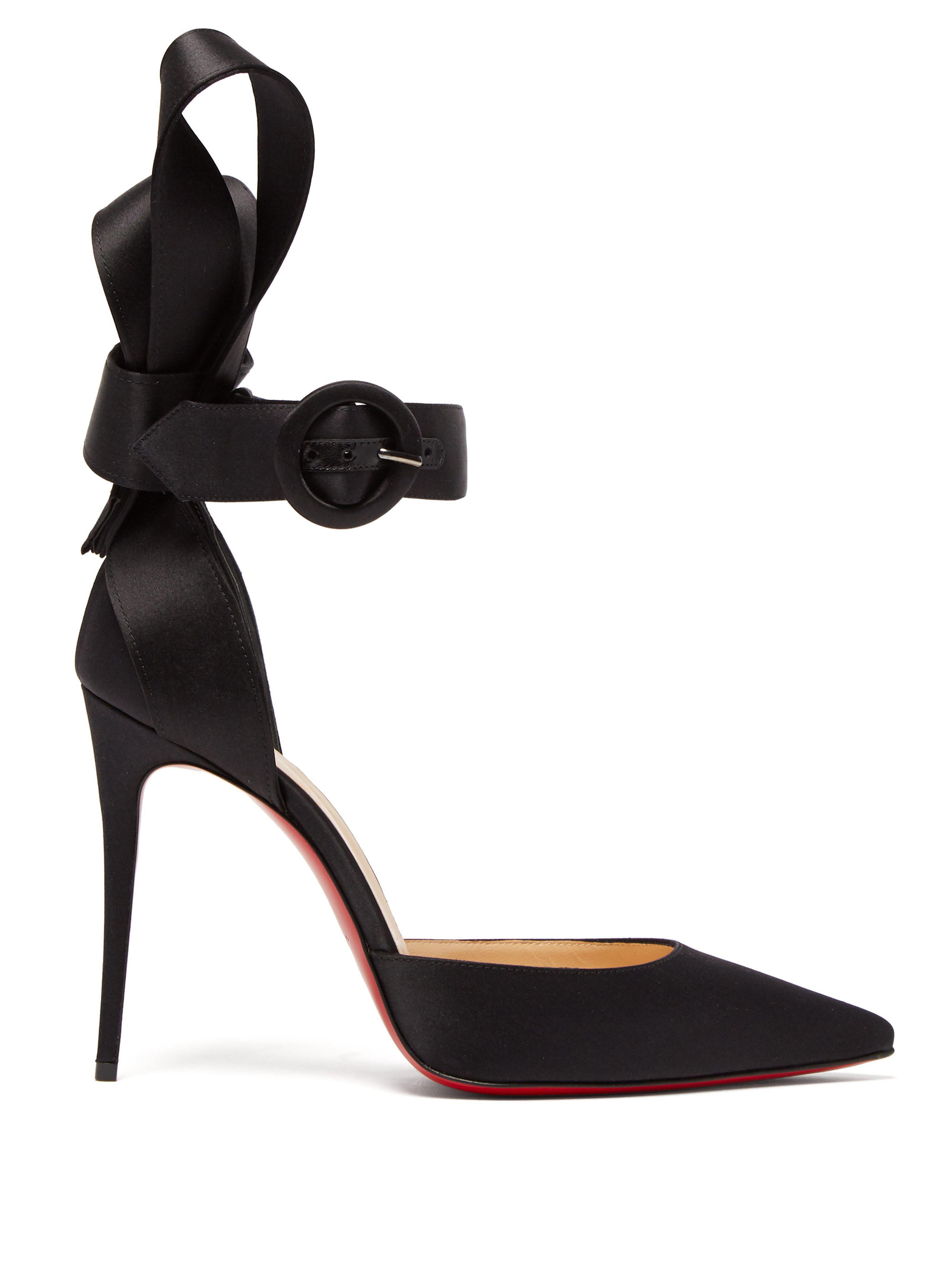 cc3e8cc5899 Christian Louboutin. Women s Black Raissa 100 Bow Back Satin Court Shoes