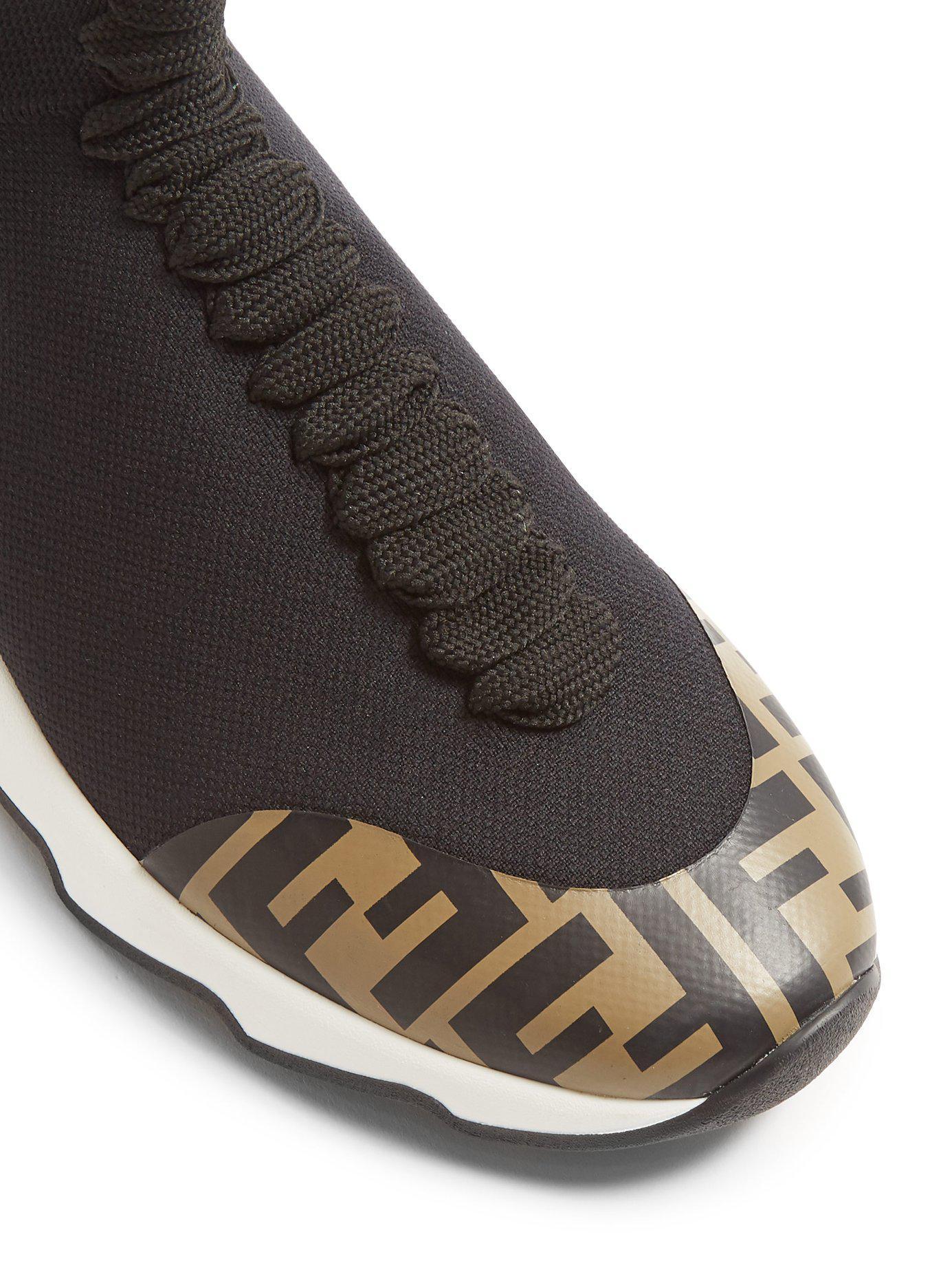 746e4fd222d0 Lyst - Fendi Ff Mid-top Sock Sneakers in Black - Save 20%
