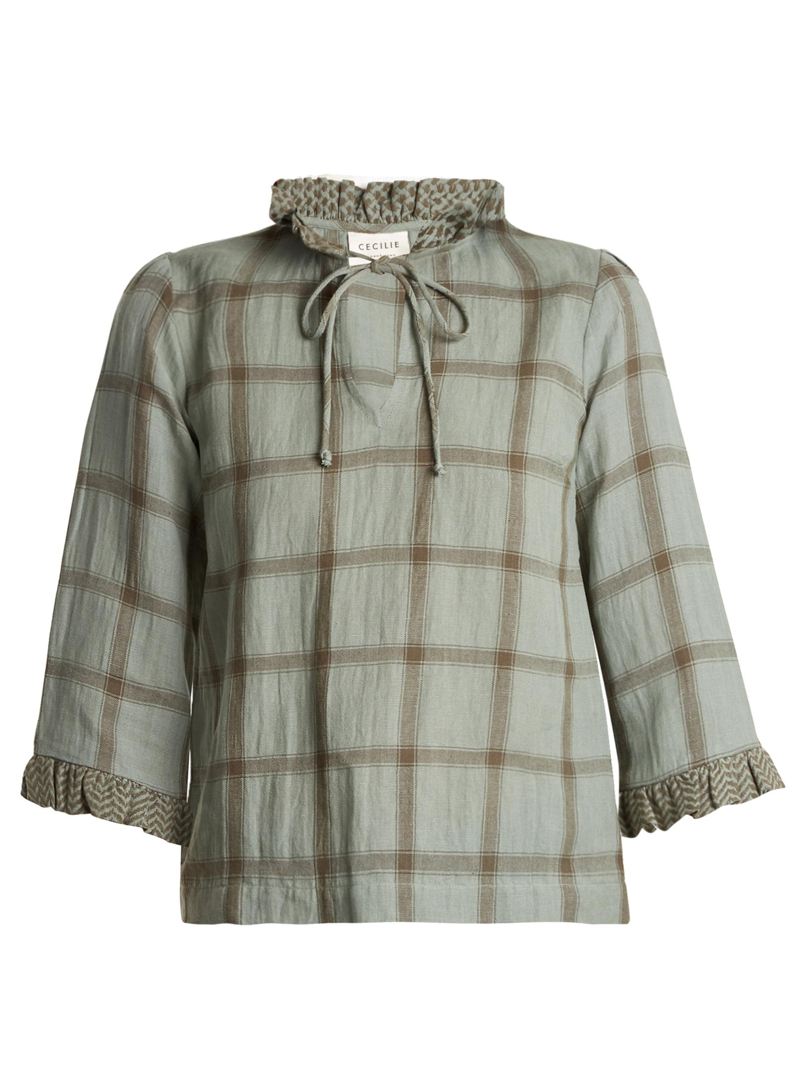 Nicekicks Sale Online Shopping Online Outlet Sale Tie-neck cotton and linen-blend checked top Cecilie Copenhagen Order Online Discount Pick A Best hCej2Ta