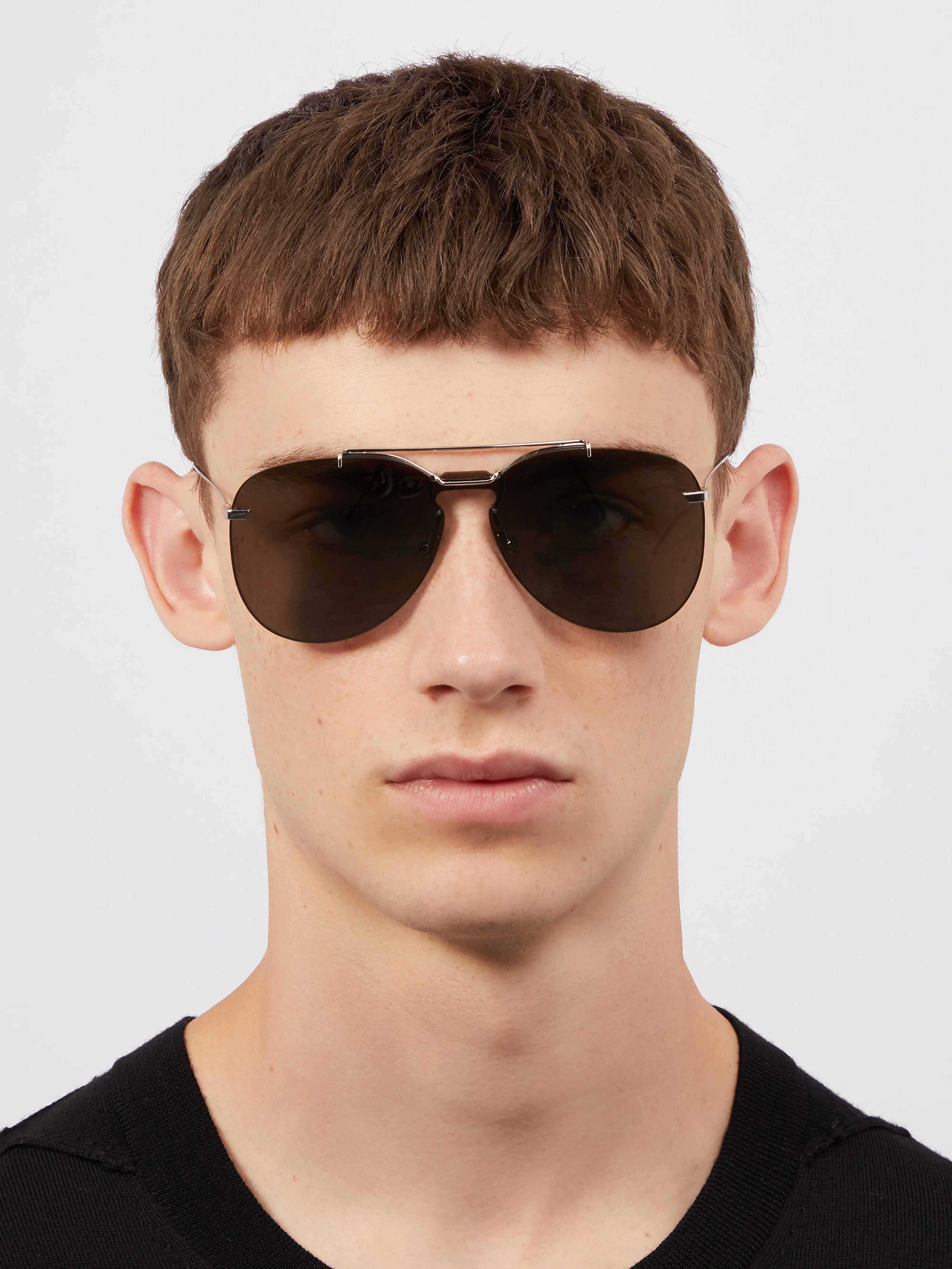 5f6090ea1ad6 Dior Homme Aviator Frame Metal Sunglasses in Metallic for Men - Lyst