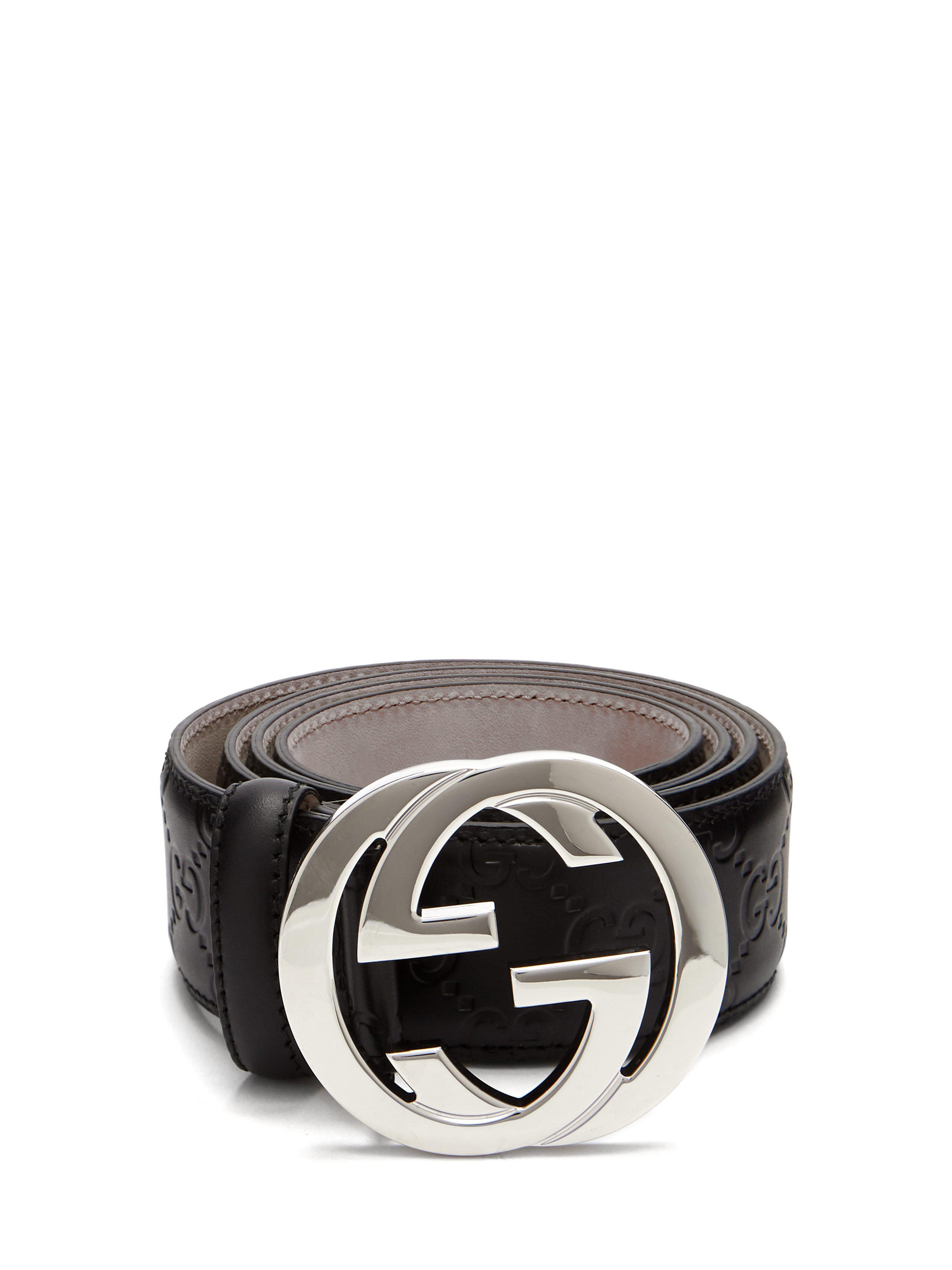 8129de7d723 Lyst - Ceinture en cuir à logo GG Signature Gucci pour homme en ...