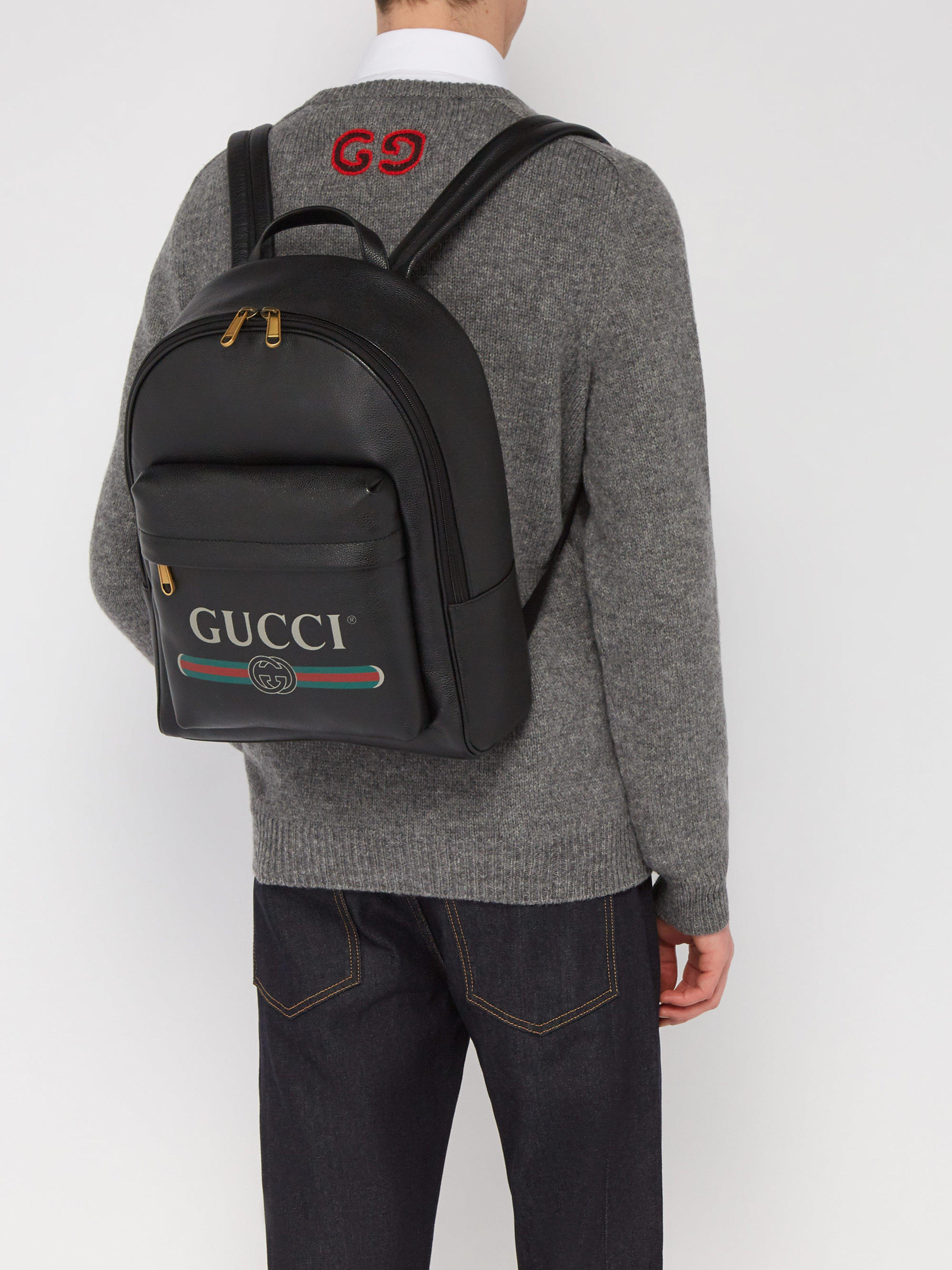 Gucci - Black Logo Printed Leather Backpack for Men - Lyst. View fullscreen af1122be5649e