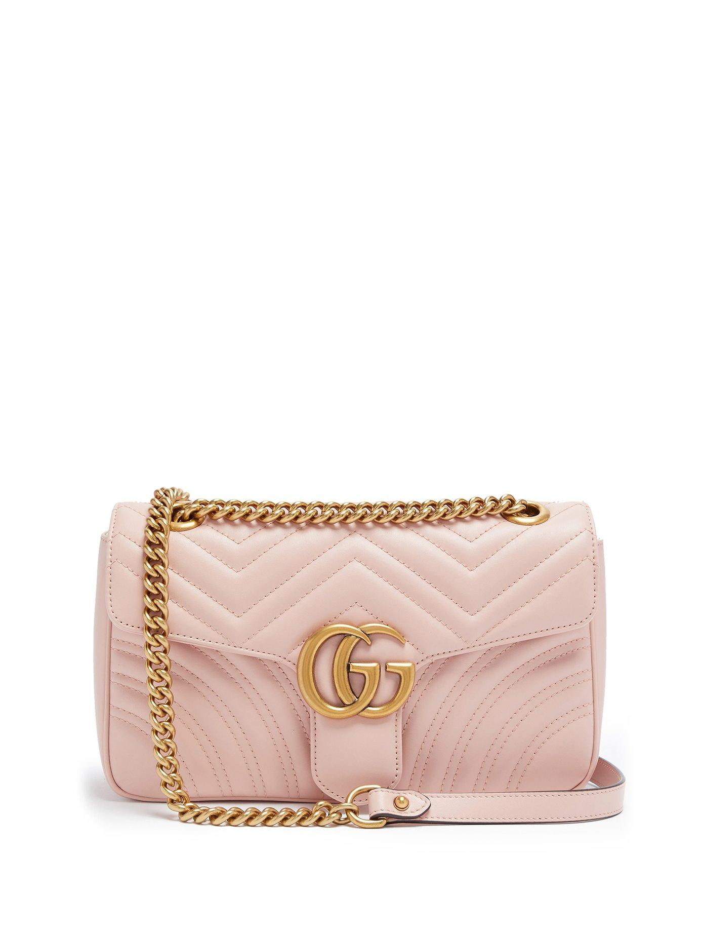 a0d3dc89da3 Lyst - Gucci Gg Marmont Small Quilted Leather Shoulder Bag in Pink ...