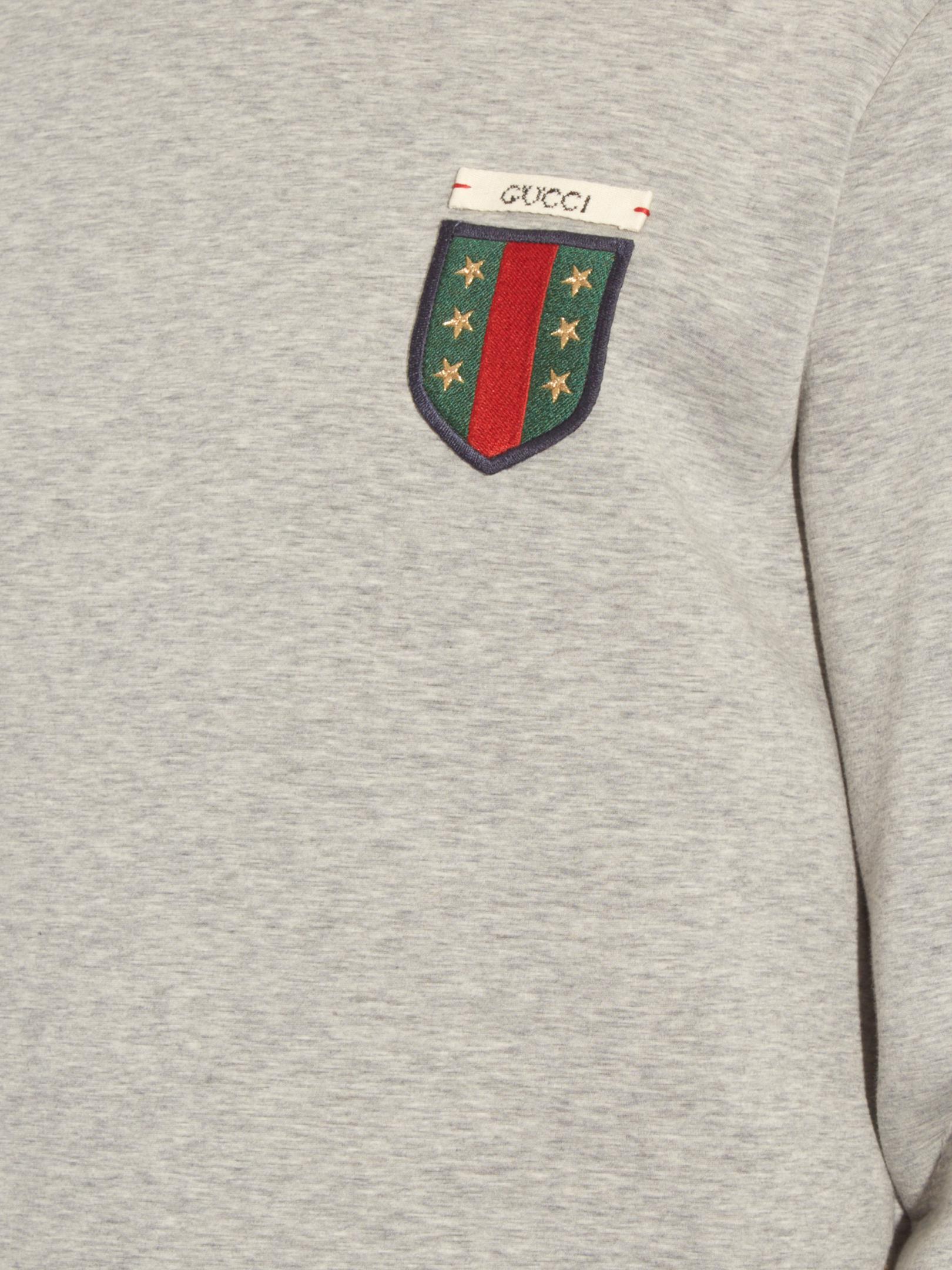 ce0f7bbb9ec Lyst - Gucci Logo-appliqué Crew-neck Neoprene Sweatshirt in Gray for Men