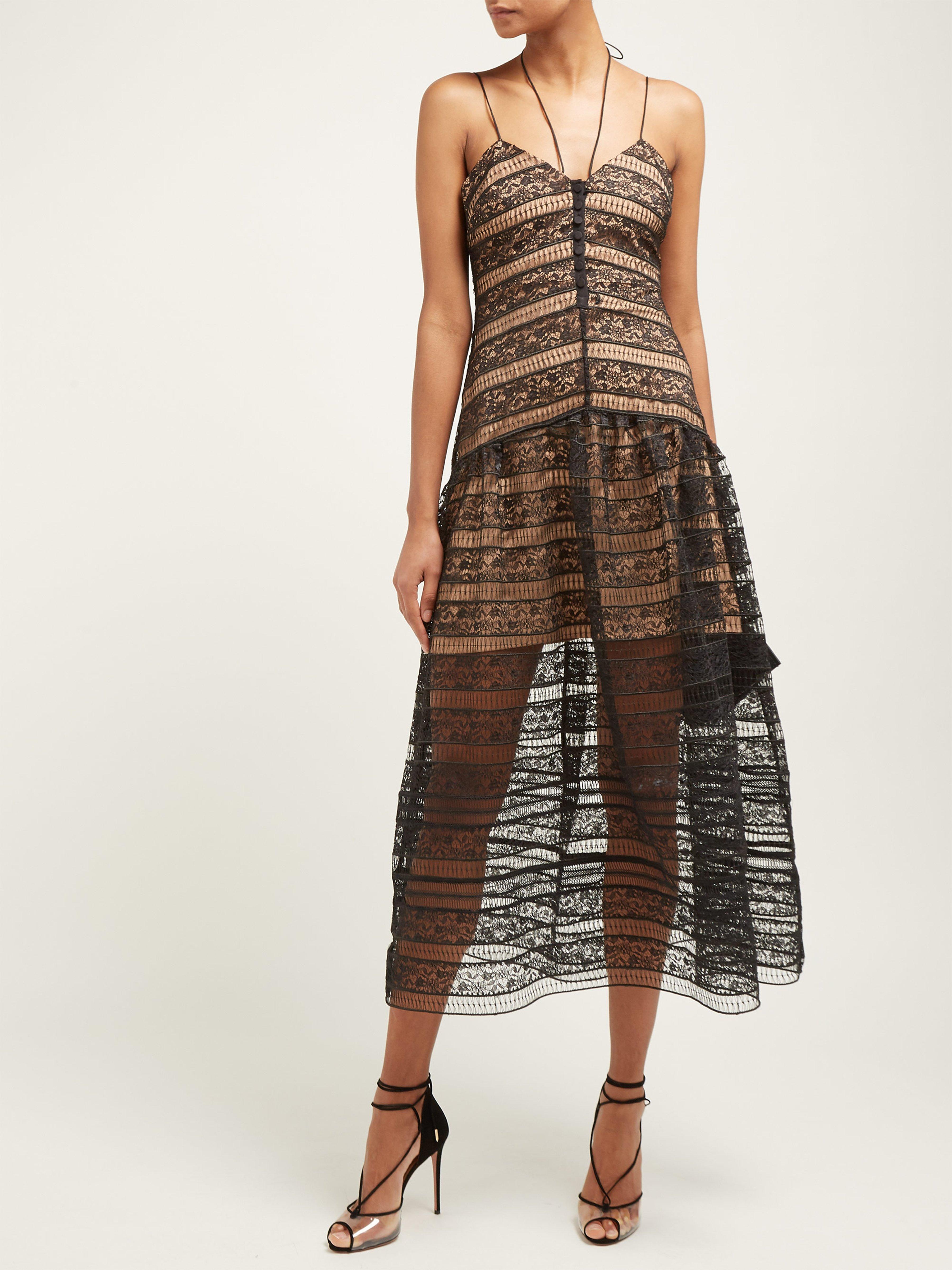 da5a669165e3f Self-Portrait Floral Lace Strappy Midi Dress in Black - Lyst