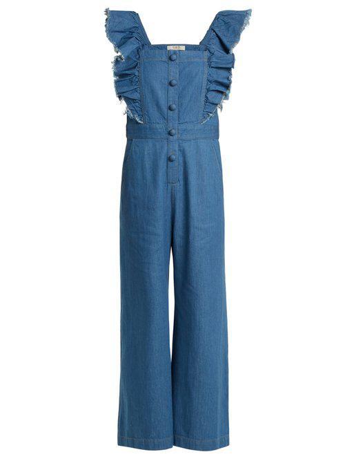 04e54c57334d Lyst - Sea Wide-leg Ruffled Denim Jumpsuit in Blue