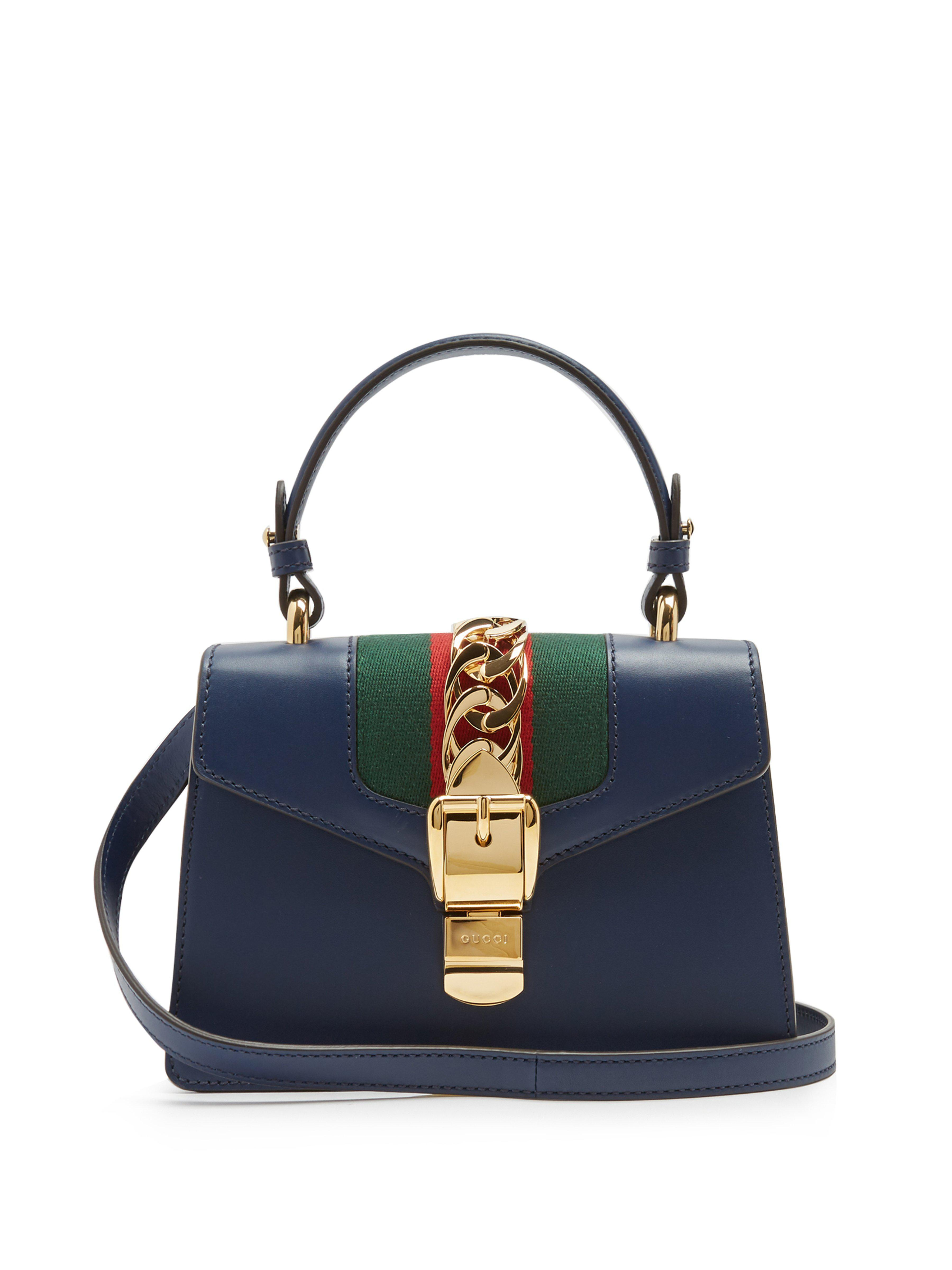 5ca9c17a545826 Gucci Sylvie Mini Leather Shoulder Bag in Blue - Lyst