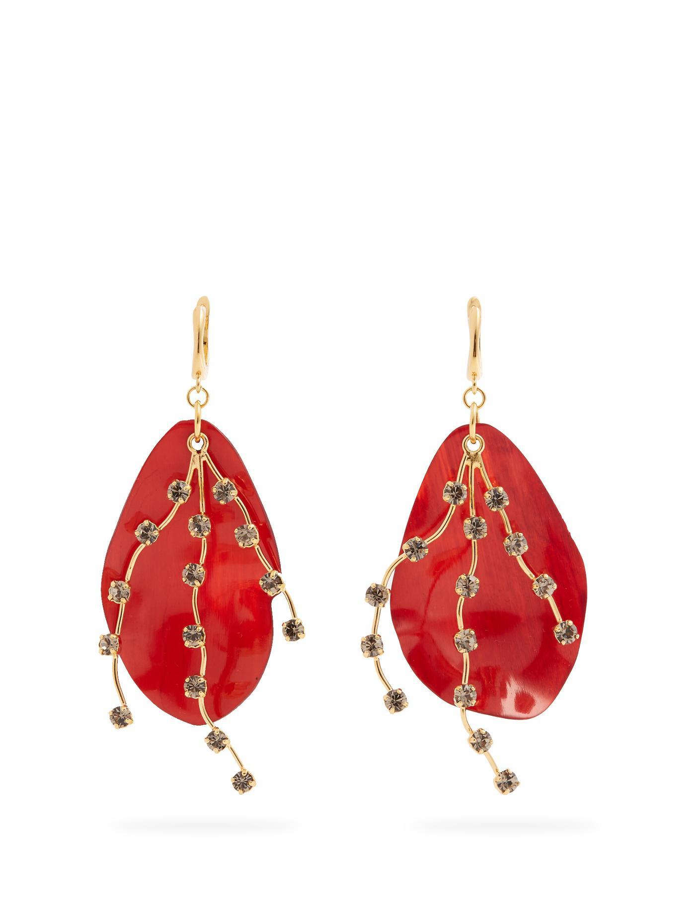 Marni Crystal-embellished leaf earrings aDCisBHR9