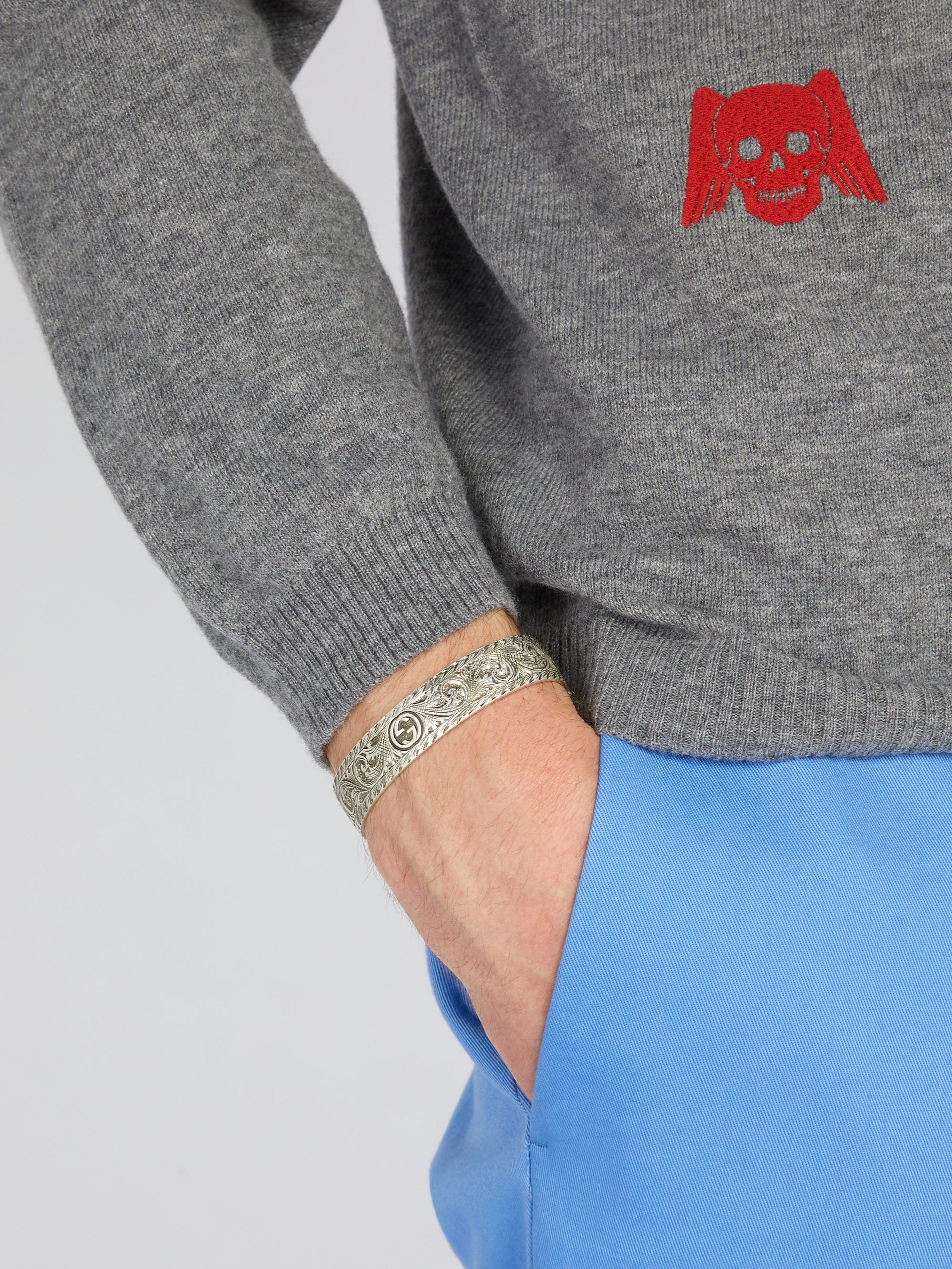 ca7c5b07401 Gucci Tiger Head Sterling Silver Cuff Bracelet in Metallic for Men - Lyst