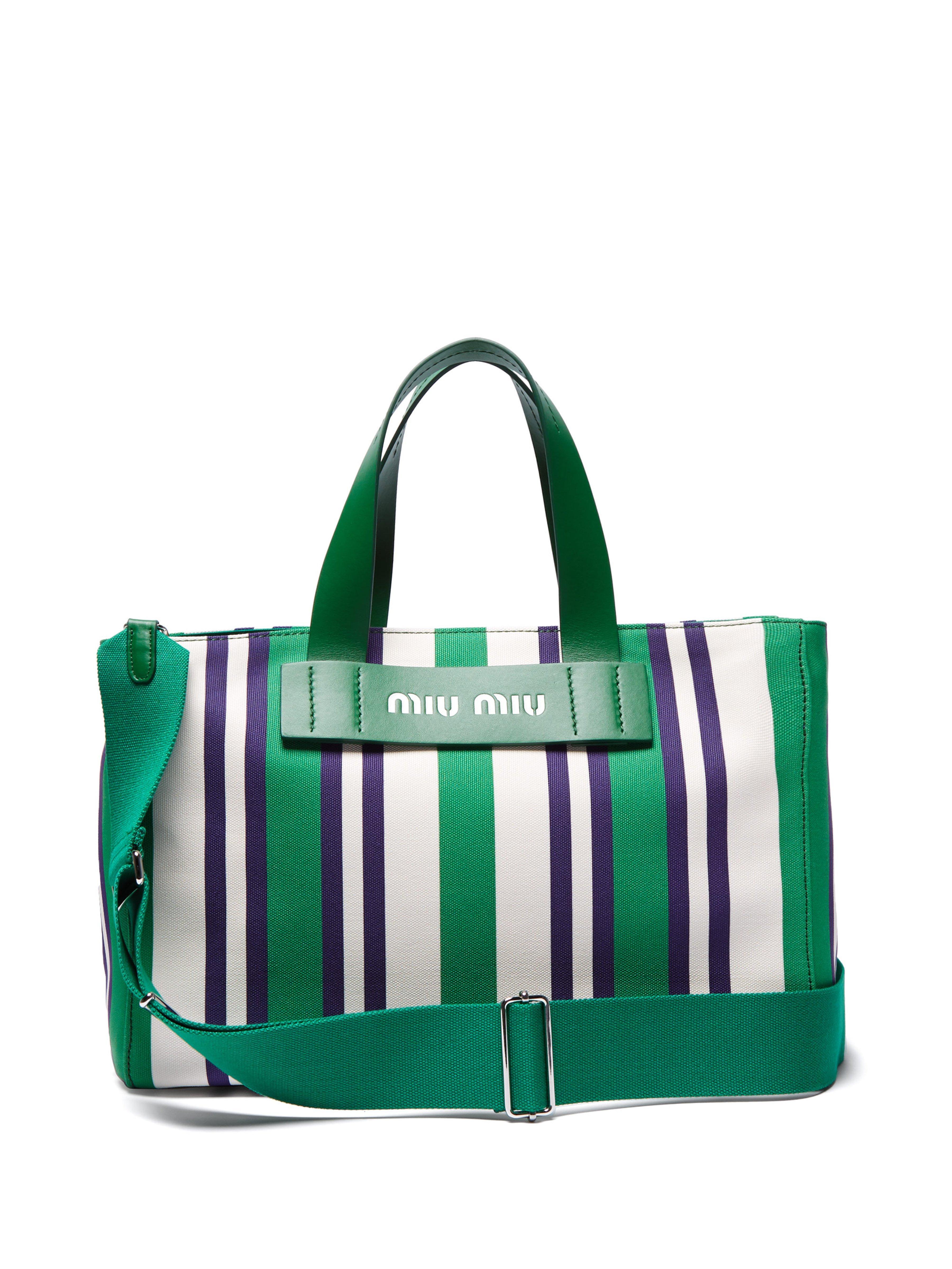 Miu Miu Striped Canvas Beach Bag in Green - Lyst 3210578aa66cd
