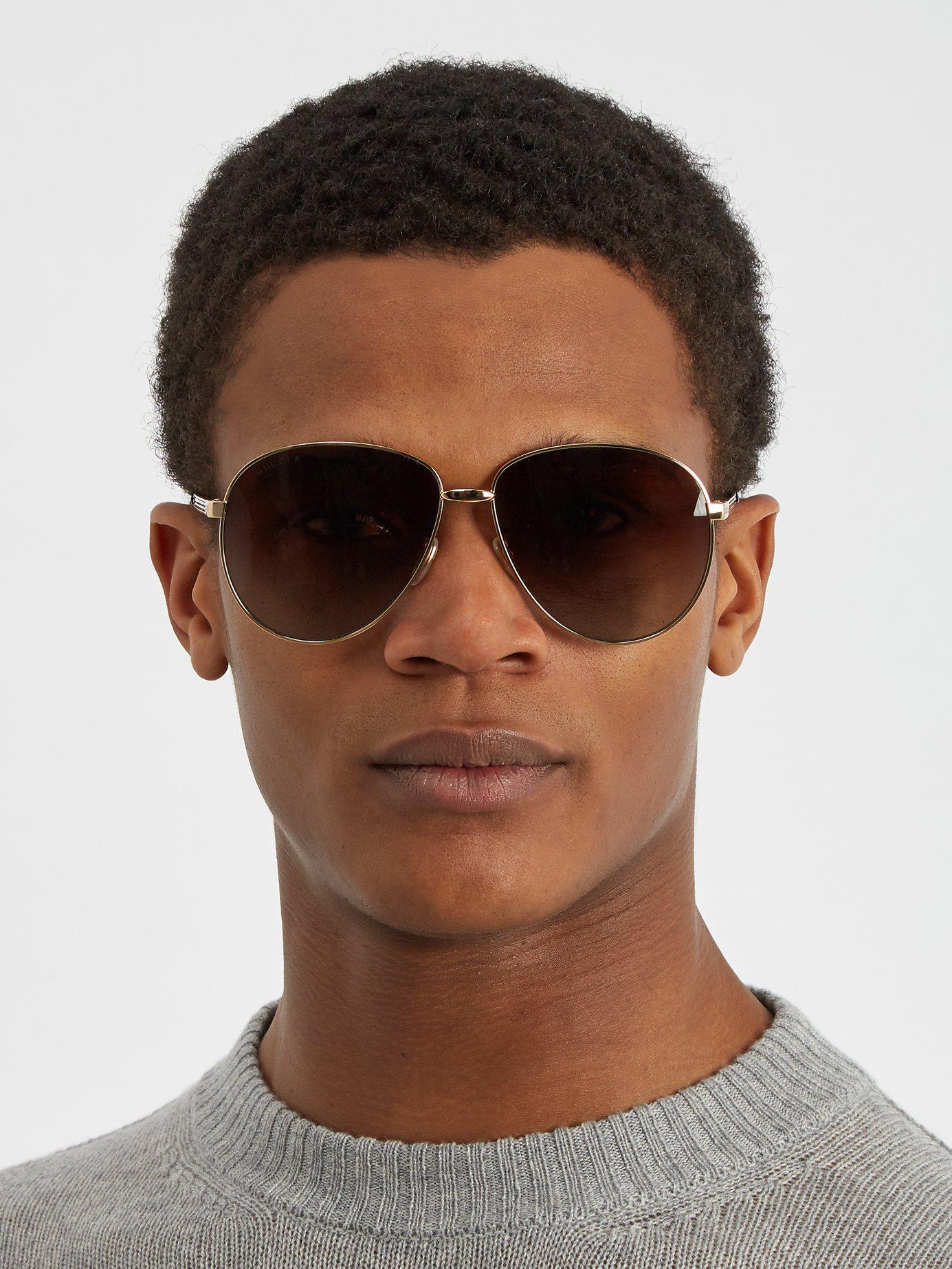 13da2cc4860 Lyst - Gucci Aviator Metal Sunglasses in Metallic for Men - Save 9%