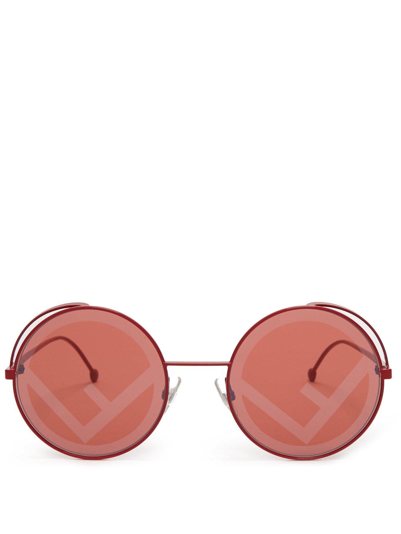 90a5d8ad6b Lyst - Fendi Rama Rounded Frame Metal Sunglasses in Red