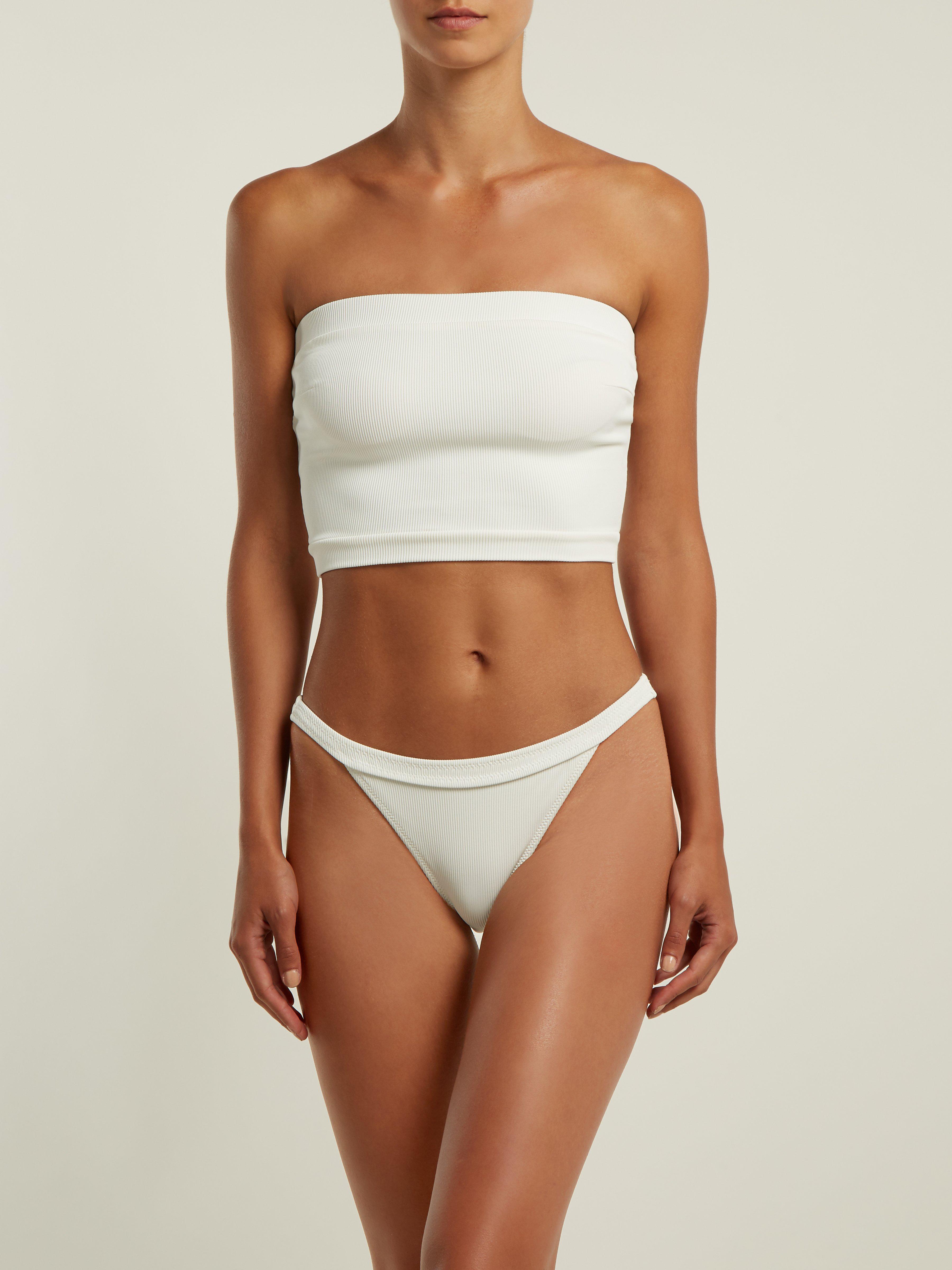 3f06fd37c220a Solid   Striped X Re done The Venice Bandeau Bikini Top in White - Lyst