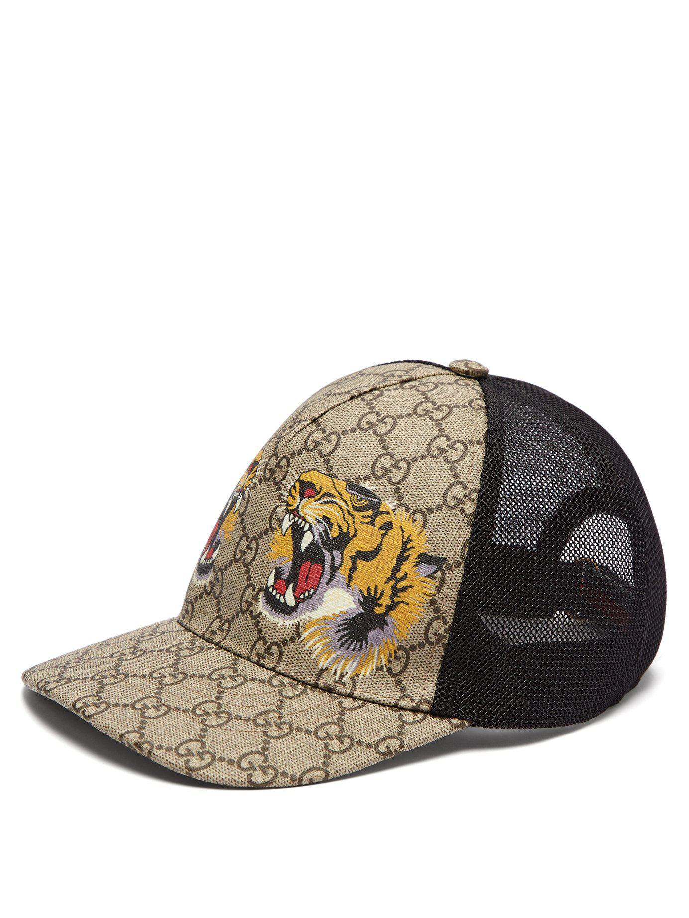Lyst - Gucci Gg Supreme And Tiger Print Mesh Cap in Natural for Men cbf40fd8b519