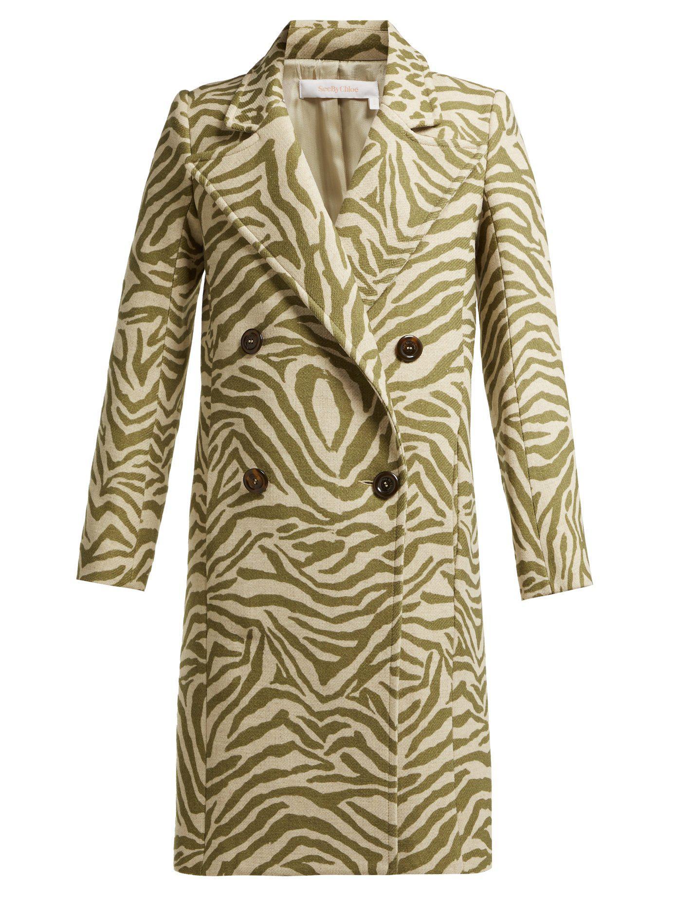 27db67c45 See By Chloé - Natural Tiger Print Wool Blend Coat - Lyst. View fullscreen