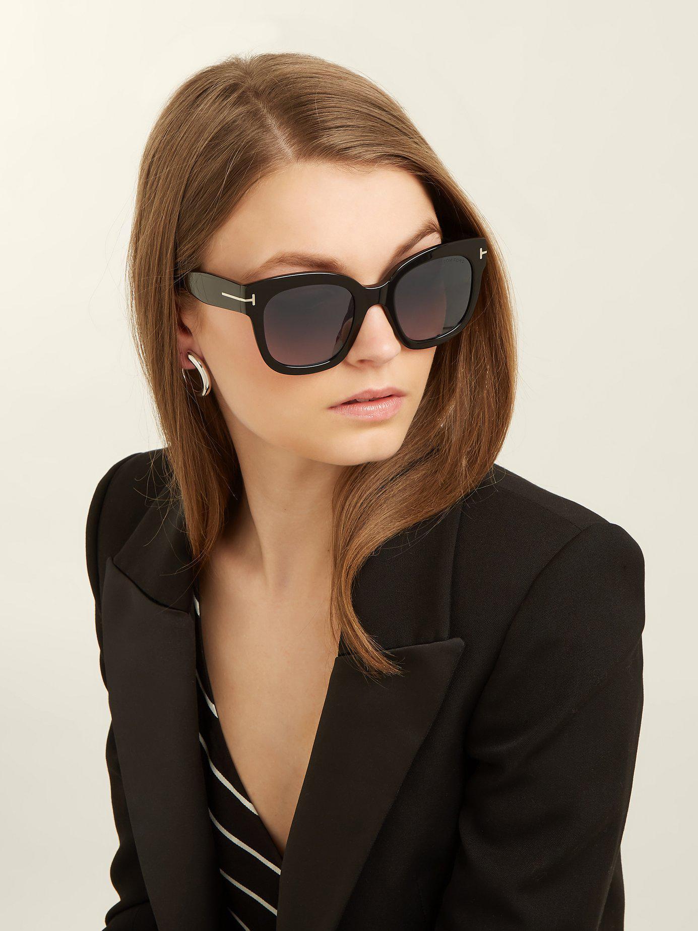 d80e9928fd Lyst - Tom Ford Beatrix Square Frame Sunglasses in Black