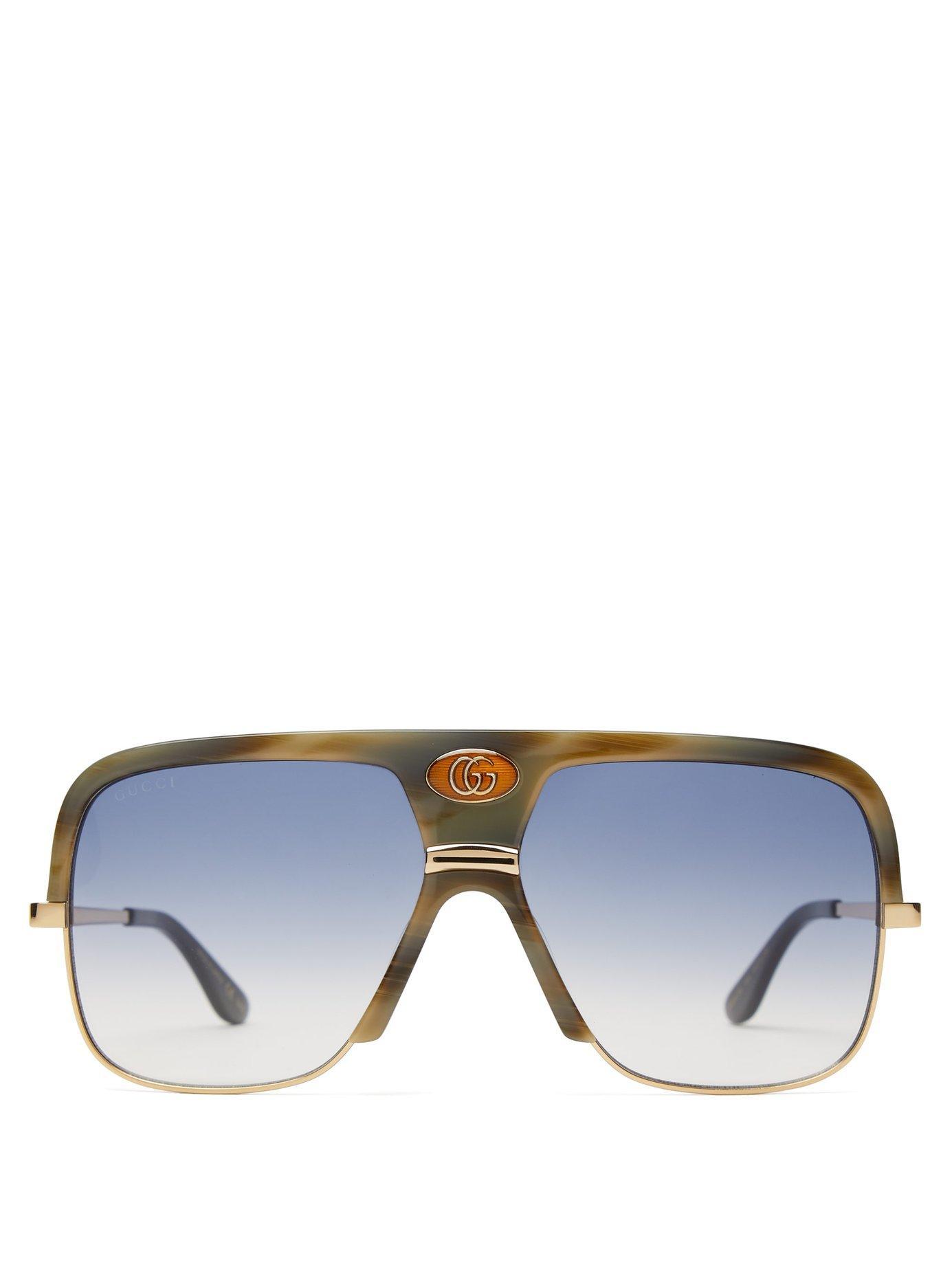 fa932373abf Lyst - Gucci Navigator Acetate And Metal Sunglasses in Green for Men