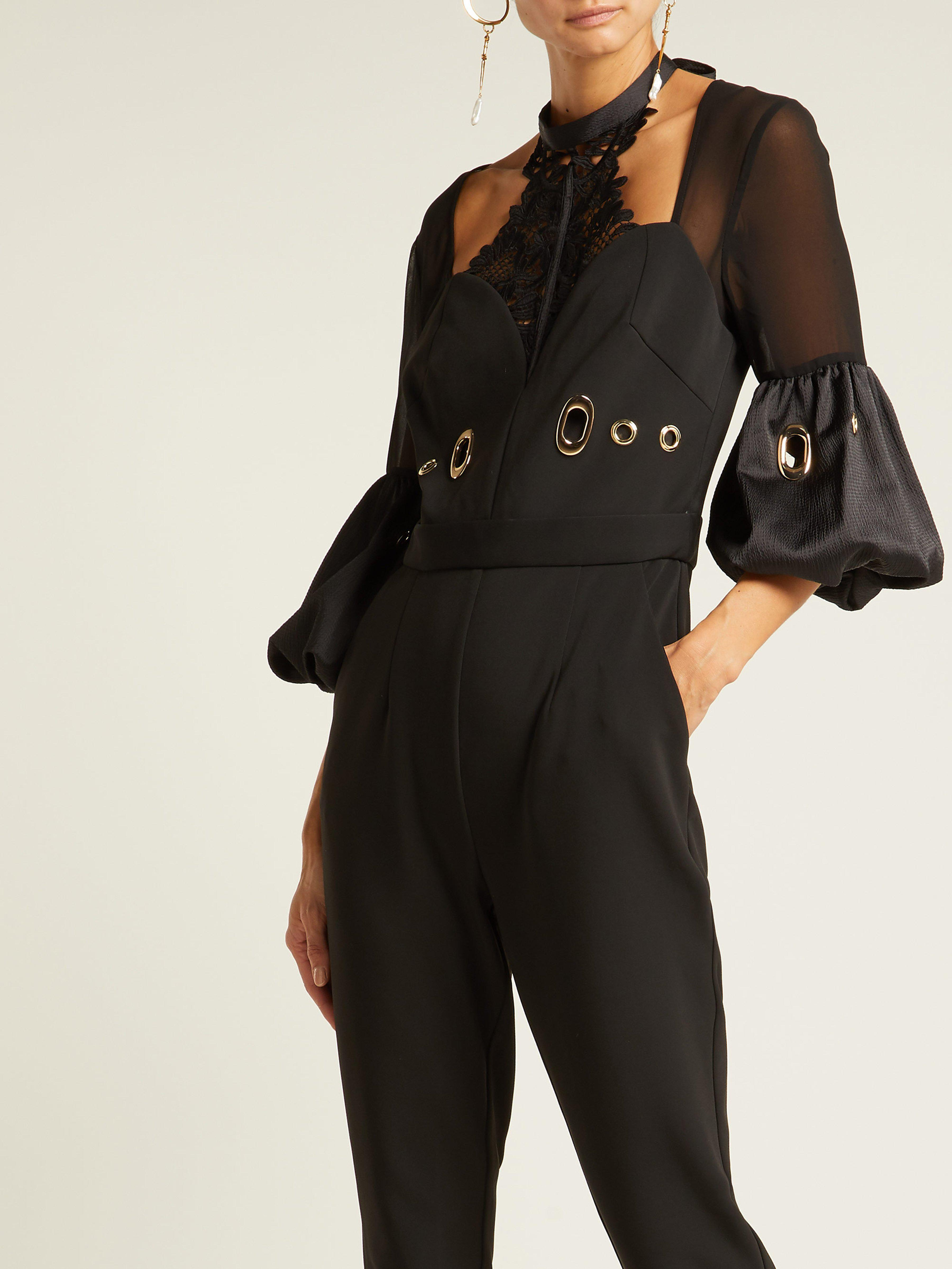 634dddc4b9fd Self-Portrait Balloon Sleeve Lace And Crepe Jumpsuit in Black - Save 50% -  Lyst