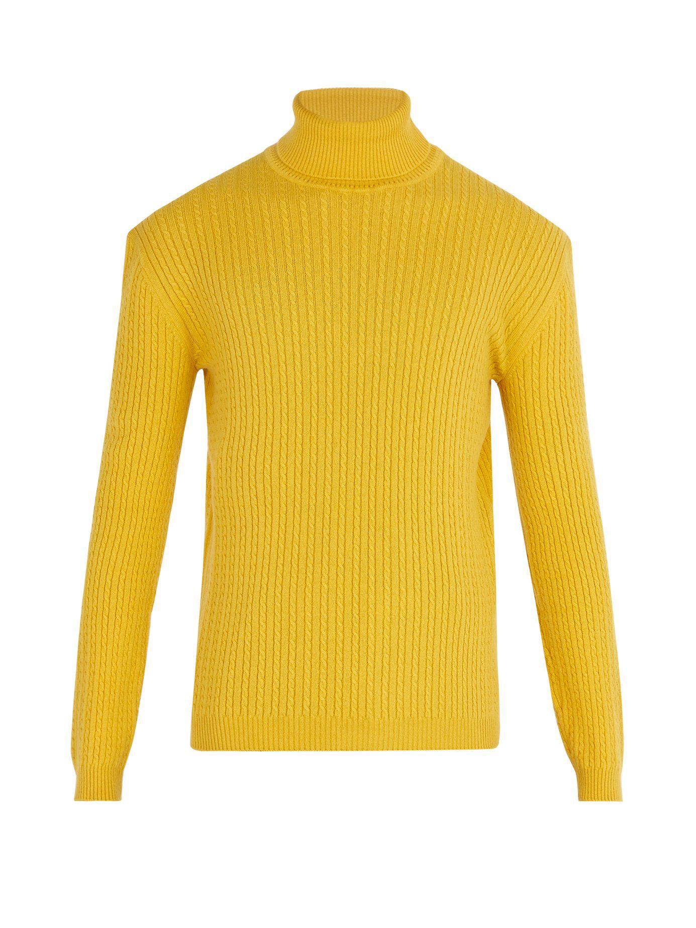 098f53af1 Gucci Cable-knit Cashmere Roll-neck Sweater in Yellow for Men - Lyst