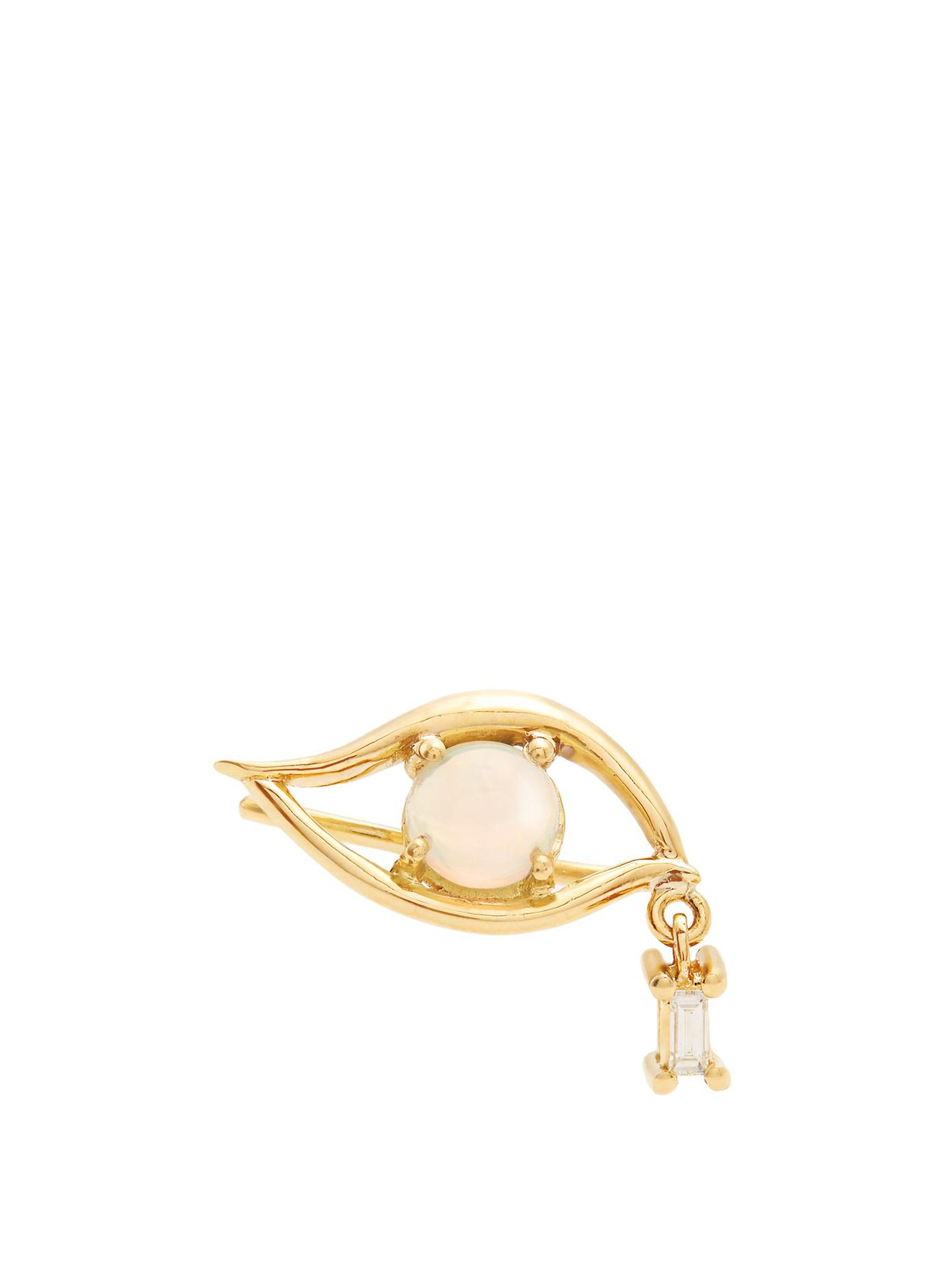 Diamond, emerald & yellow-gold single earring Ileana Makri