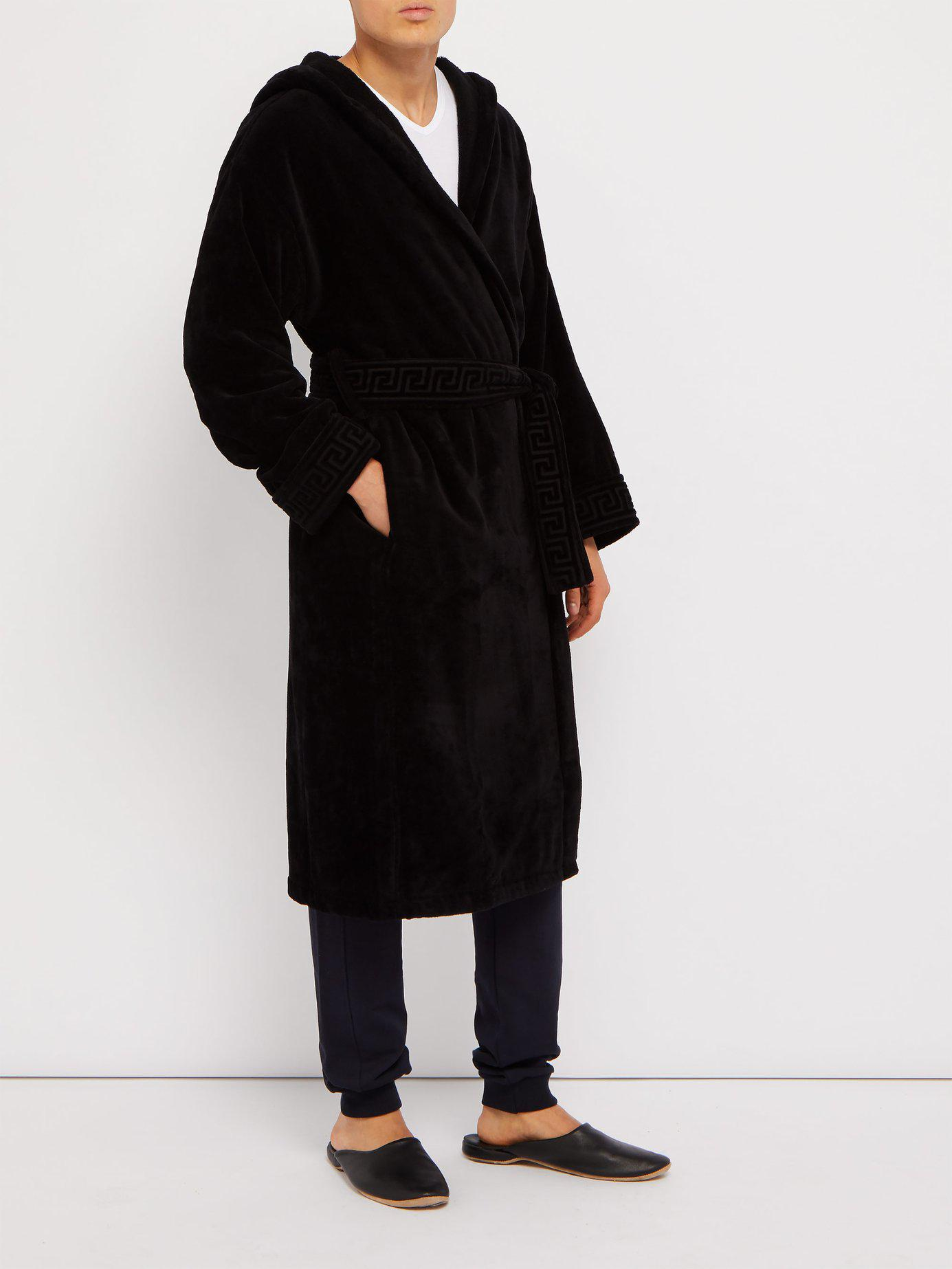 277918a162 Lyst - Versace Medusa Cotton Hooded Robe in Black for Men