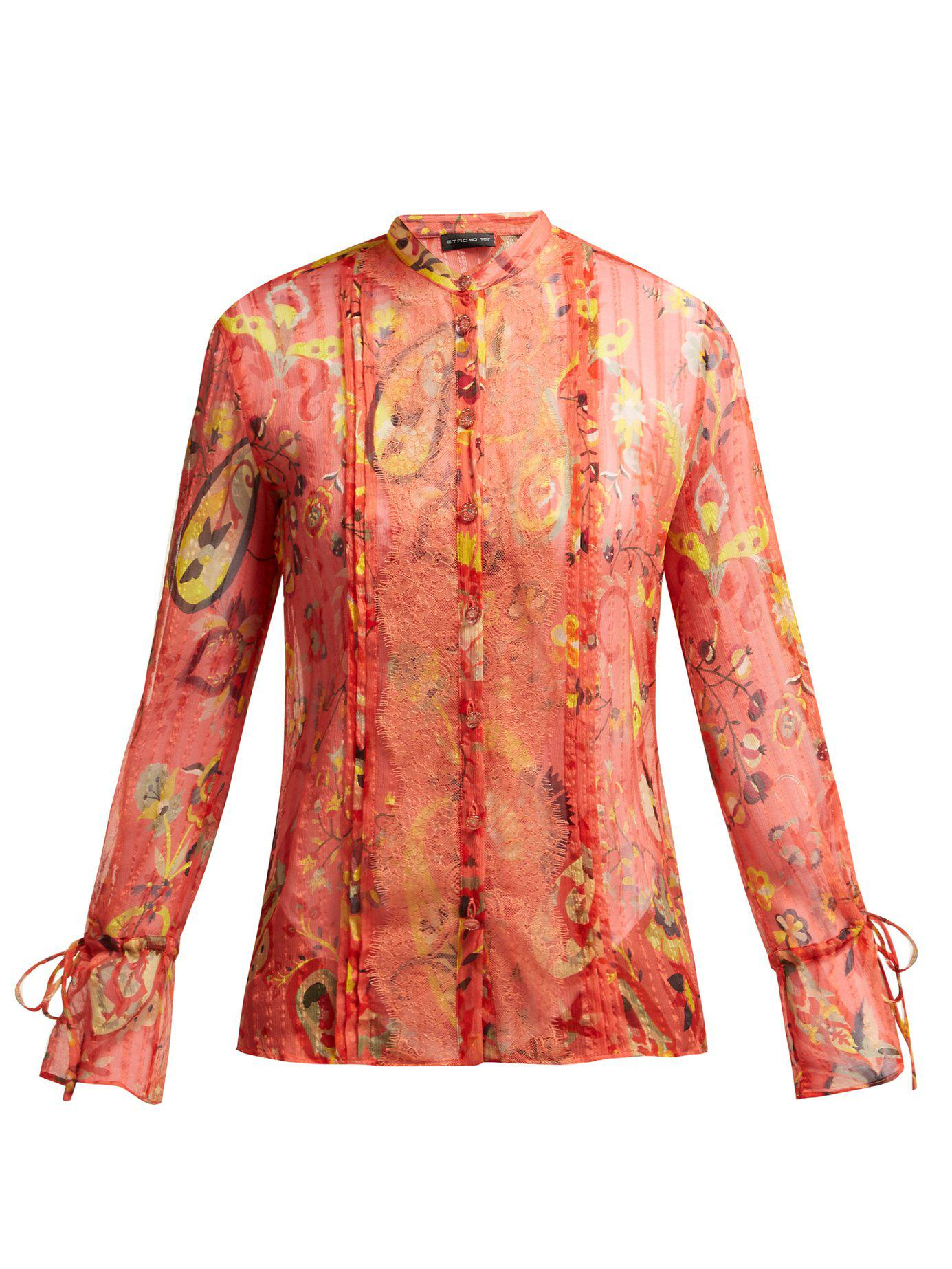 41e0c4f4875929 Lyst - Etro Bahidora Lace Panelled Silk Blouse in Red