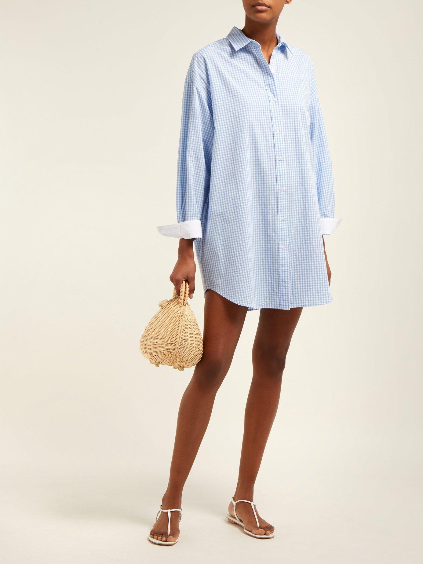 19dd5e3fd63 Mes Demoiselles - Blue Checked Oversized Cotton Shirt - Lyst. View  fullscreen