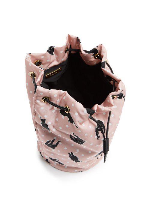 Miu Miu Cat-print Nylon Pouch in Pink - Lyst 13bd0438c3204